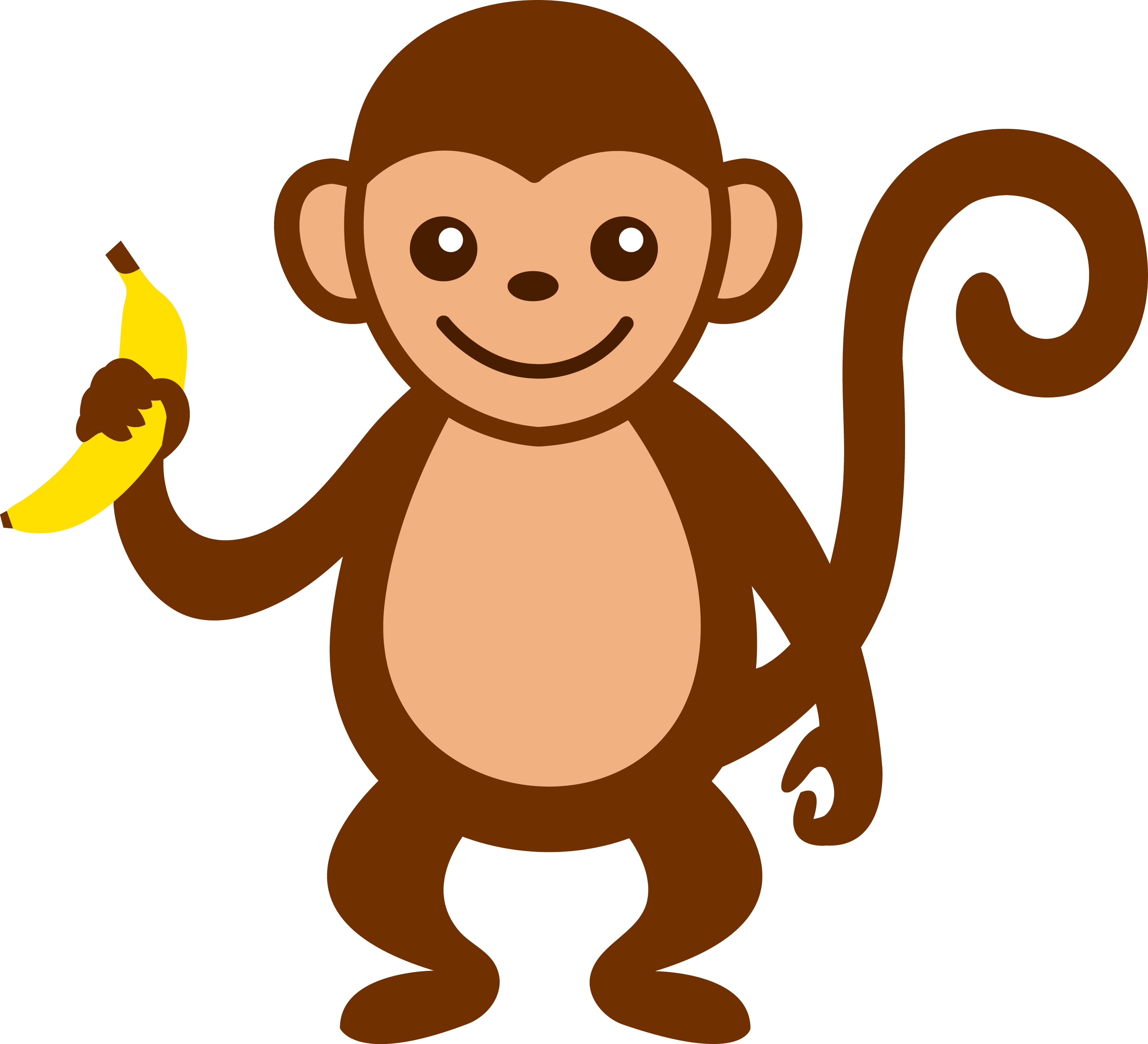 Cute Monkey With Banana - Free Clip Art