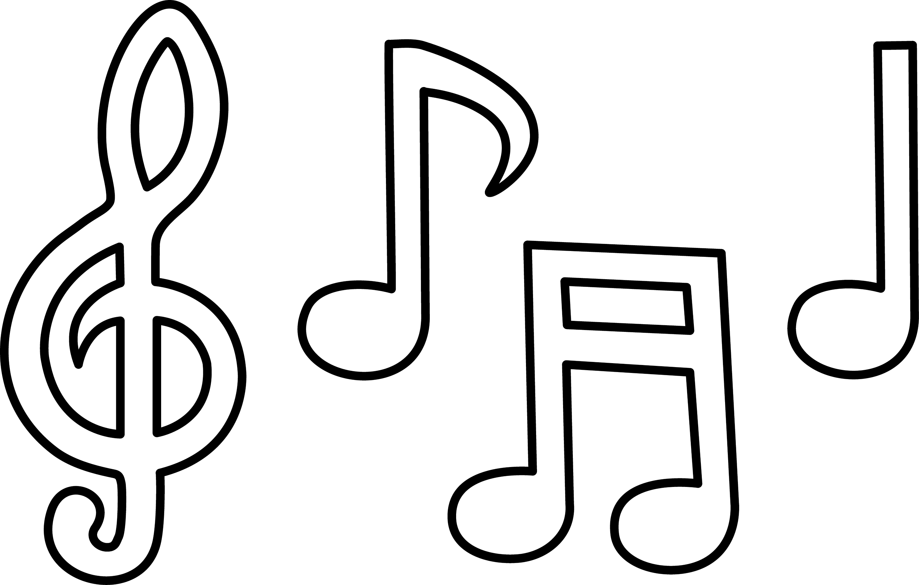 Line Art Music Notes : Musical notes line art free clip