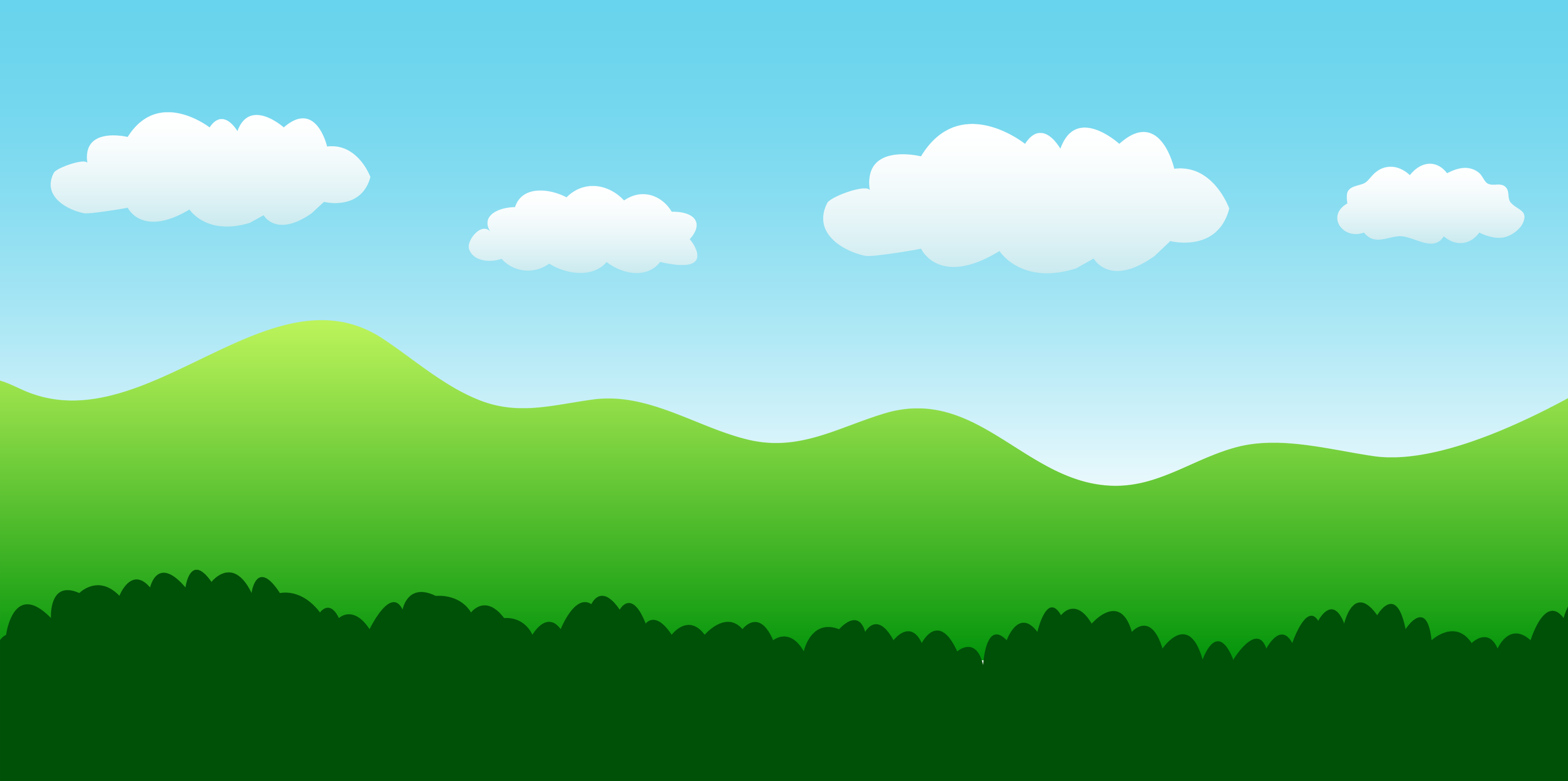 Landscape Scene With Hills Bushes and Sky - Free Clip Art