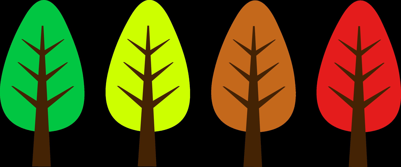 Set of cute miniature autumn trees