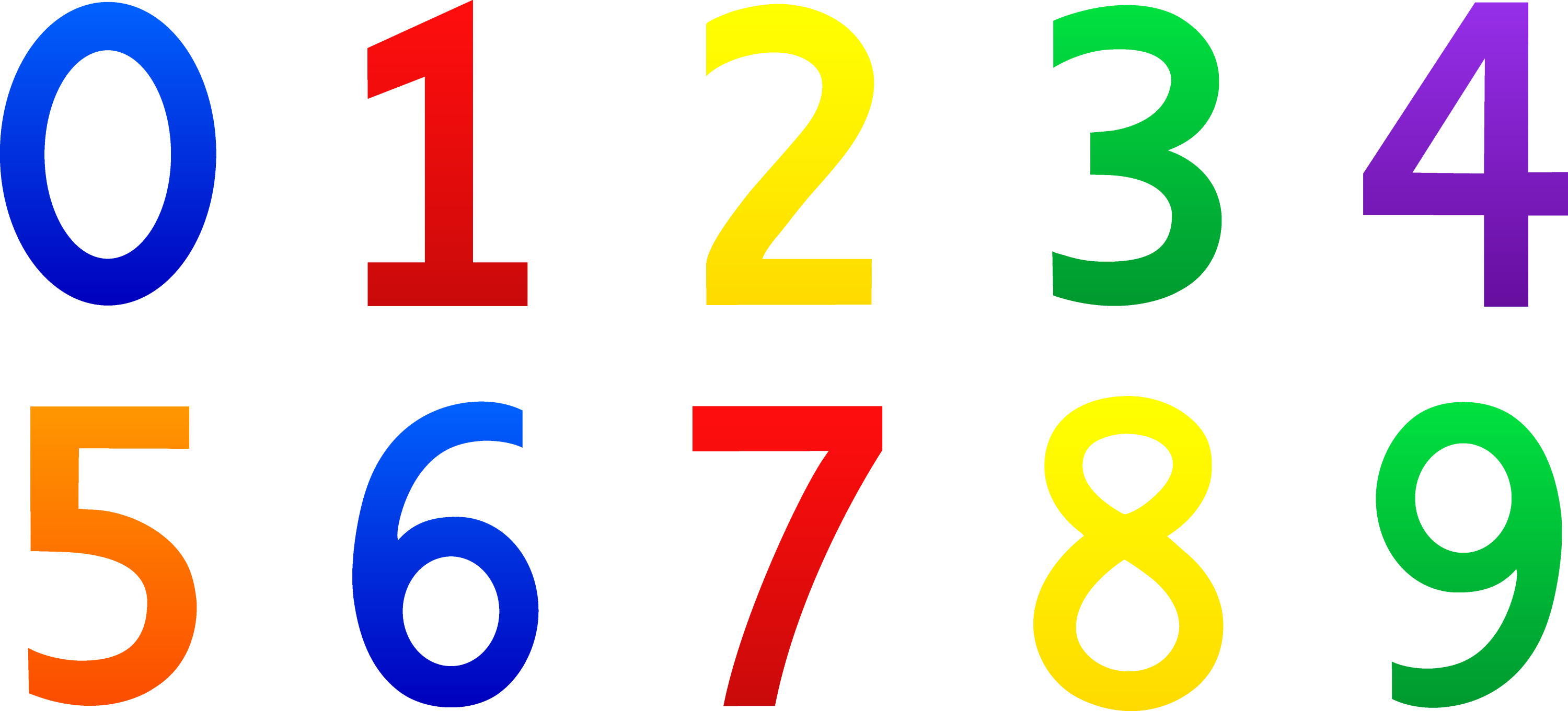 Colorful Set Of Numbers 0-9