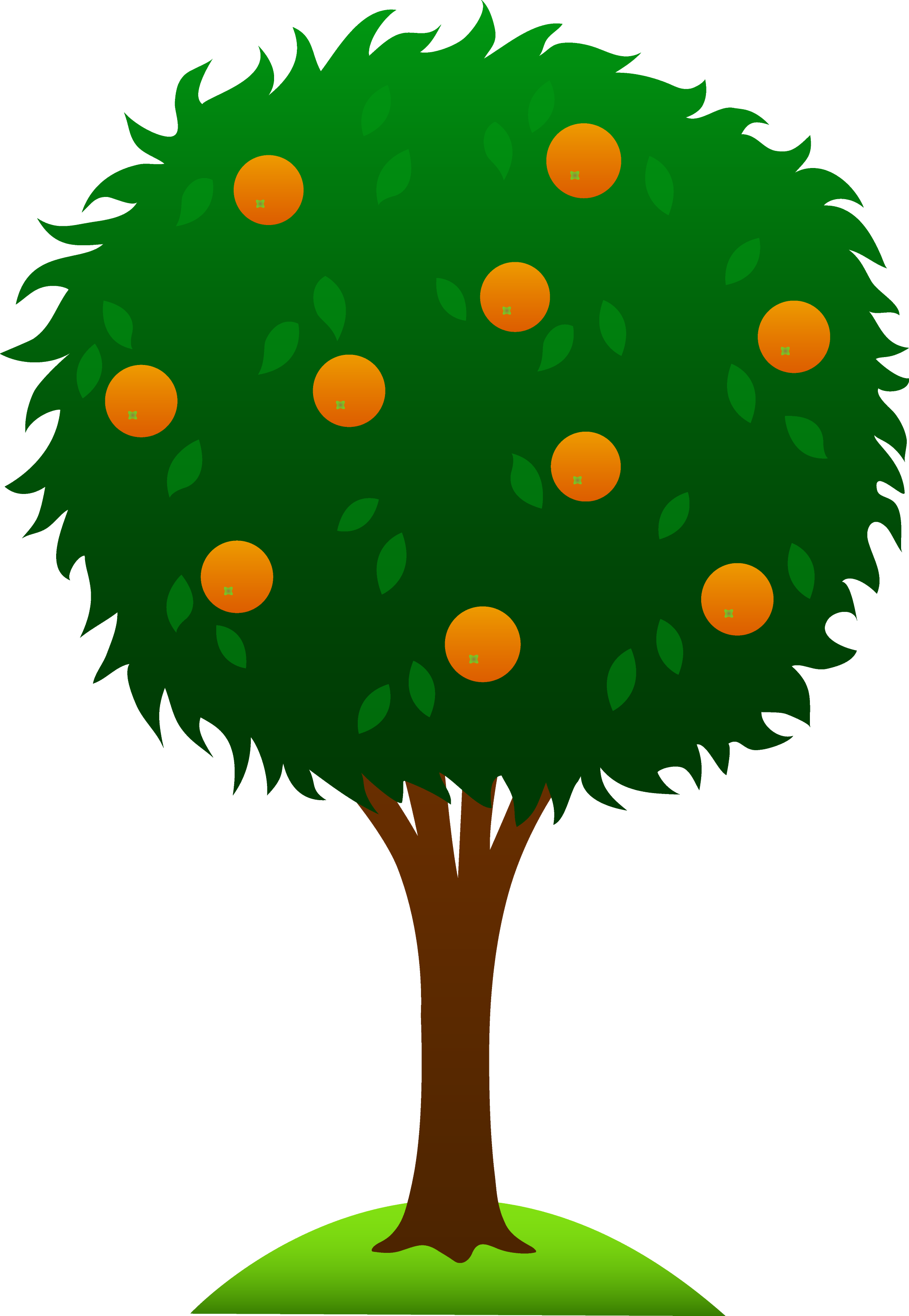 Sweet Orange Tree - Free Clip Art