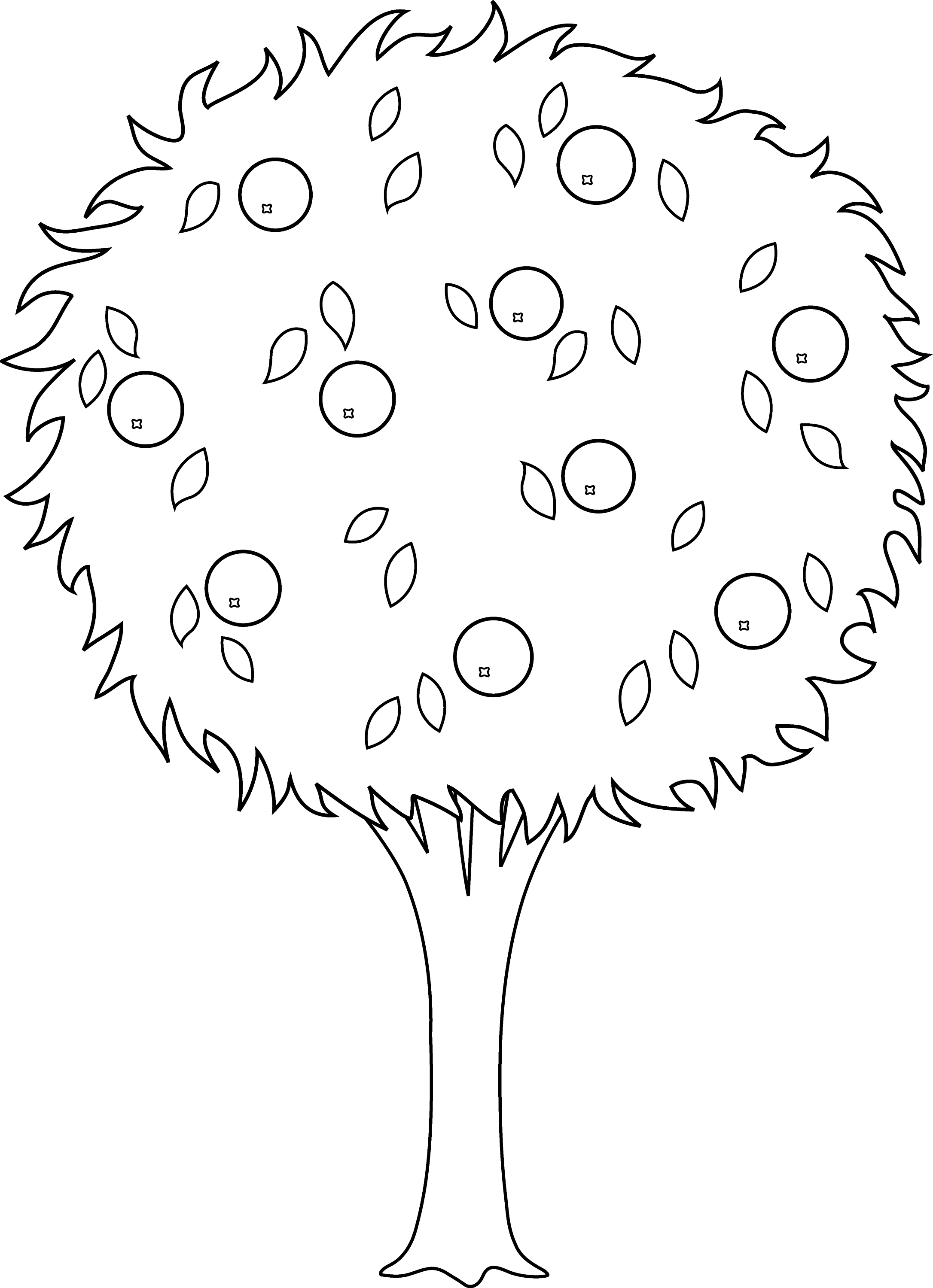 orange tree line art free clip art