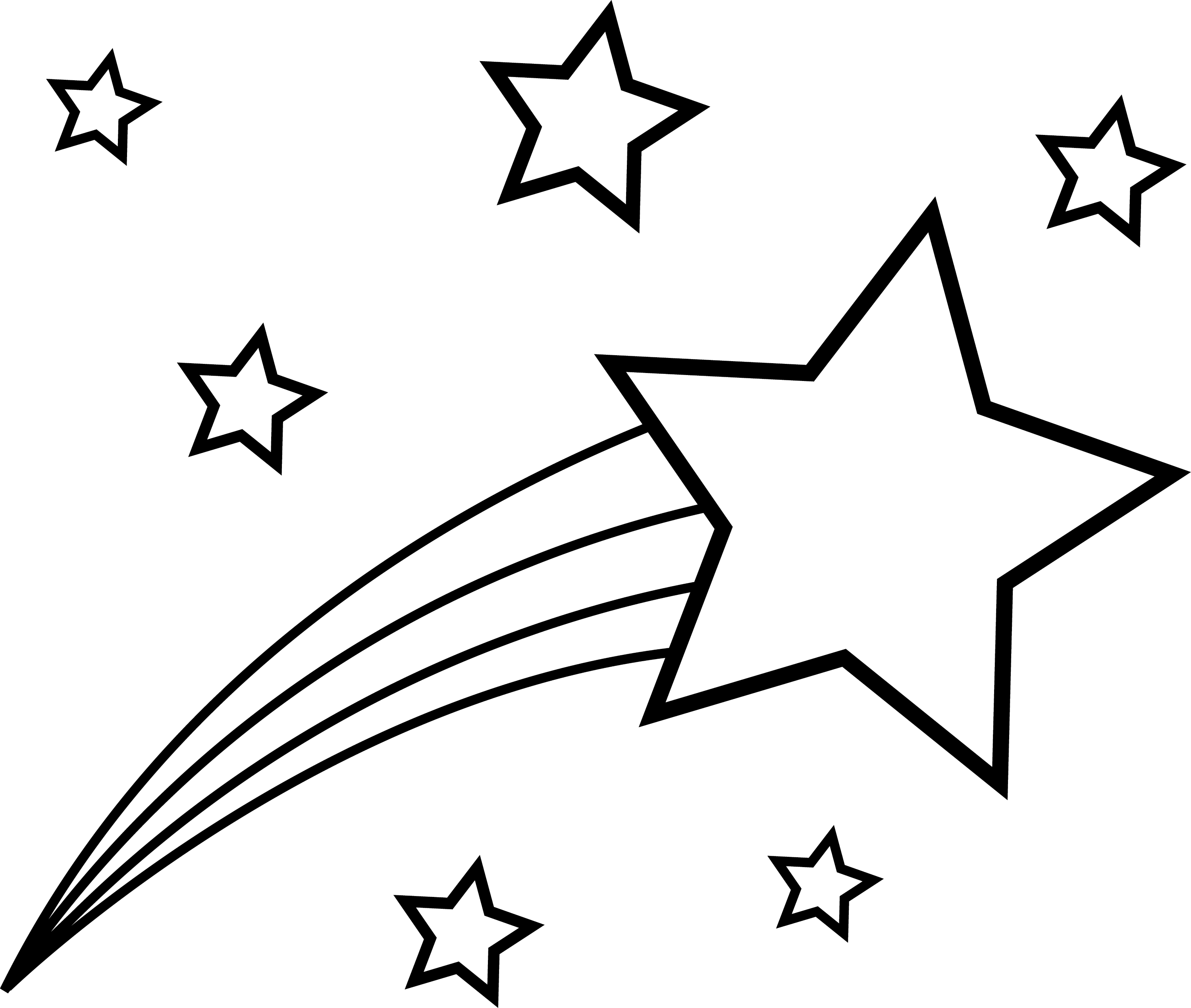 Pictures to color in - Black And White Shooting Star Design