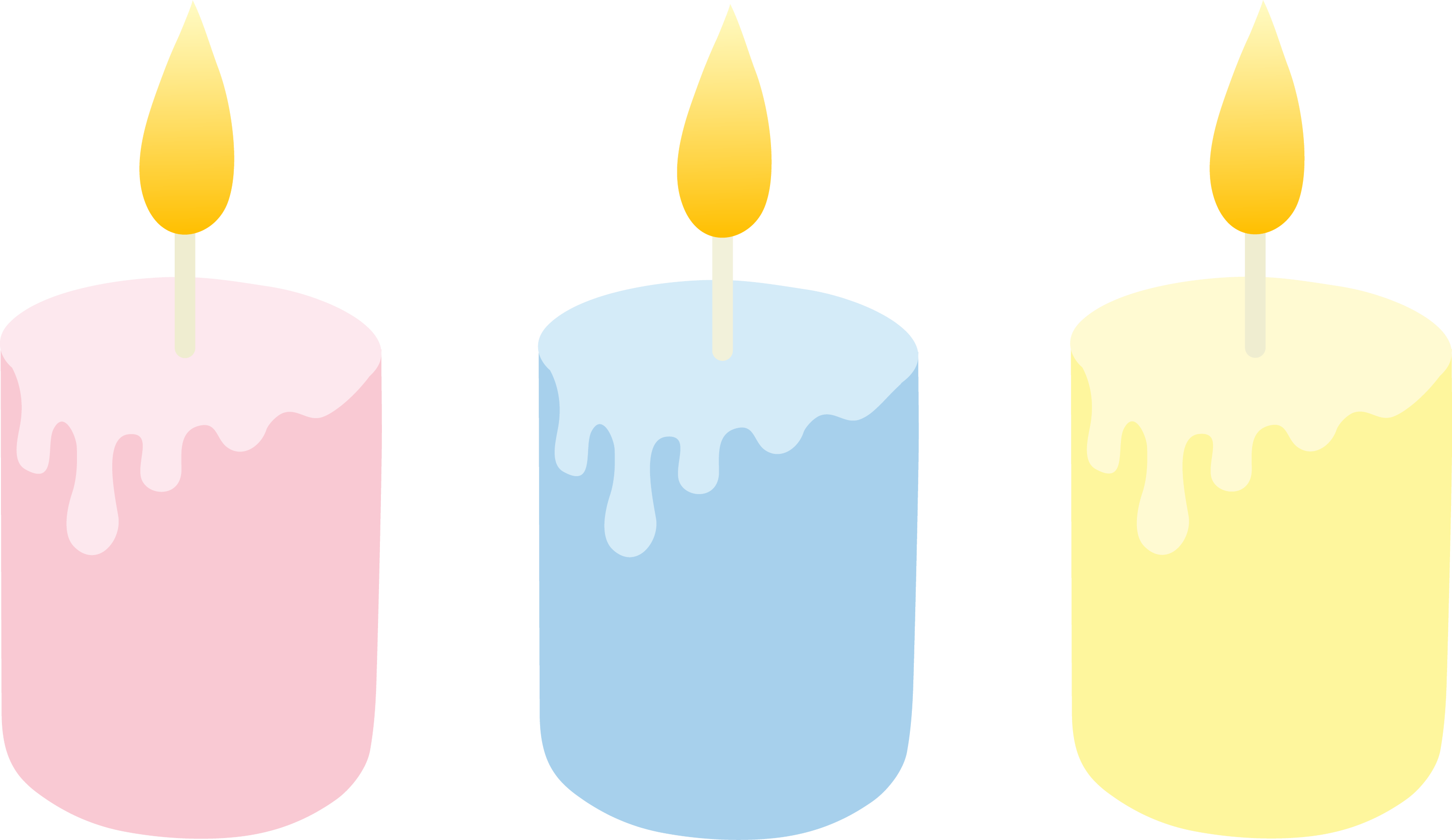 Birthday Candles Transparent Png Clip Art Image: Three Pastel Colored Candles