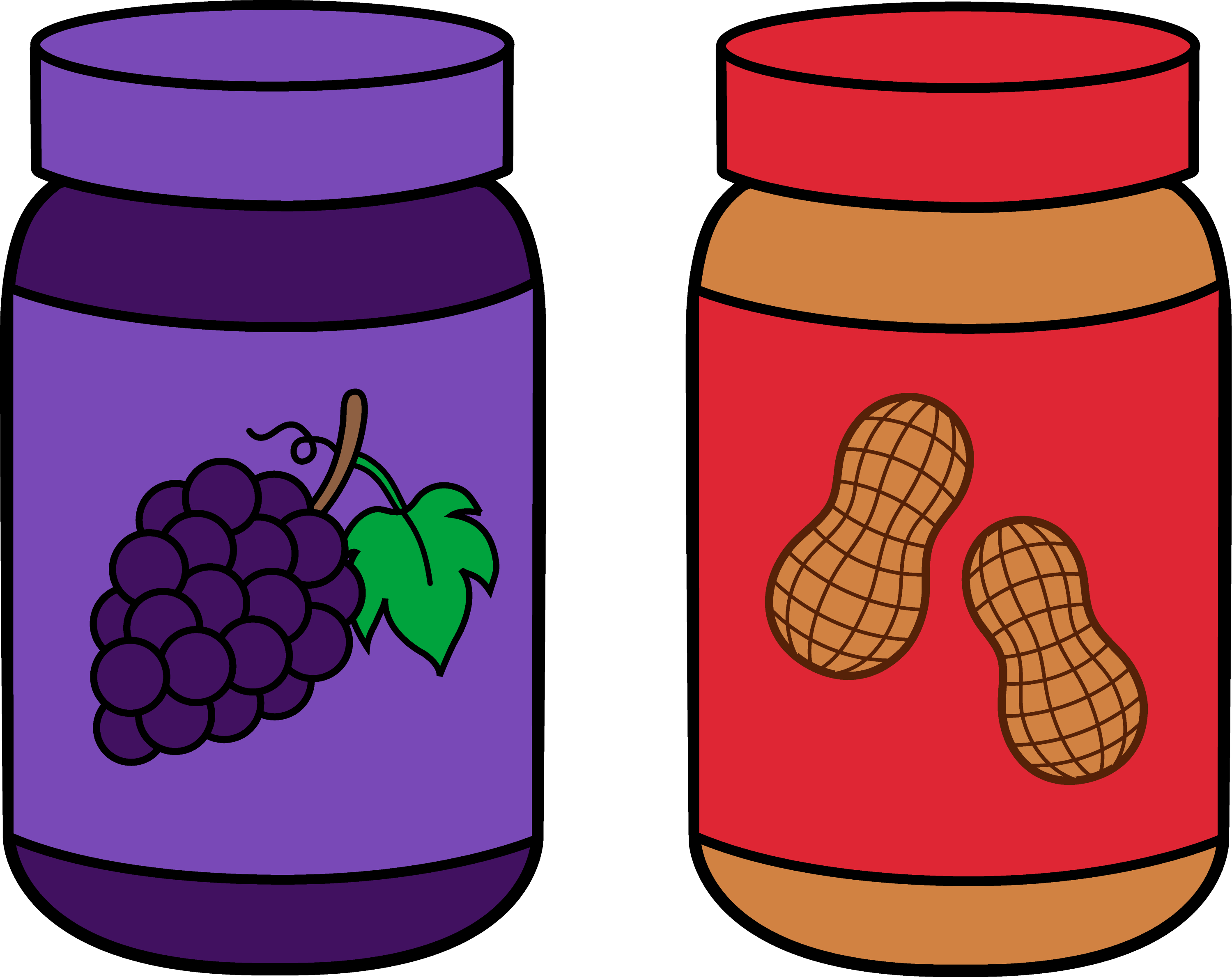jars of peanut butter and jelly free clip art rh sweetclipart com peanut butter and jelly sandwich clip art free Peanut Butter and Jelly Sandwich