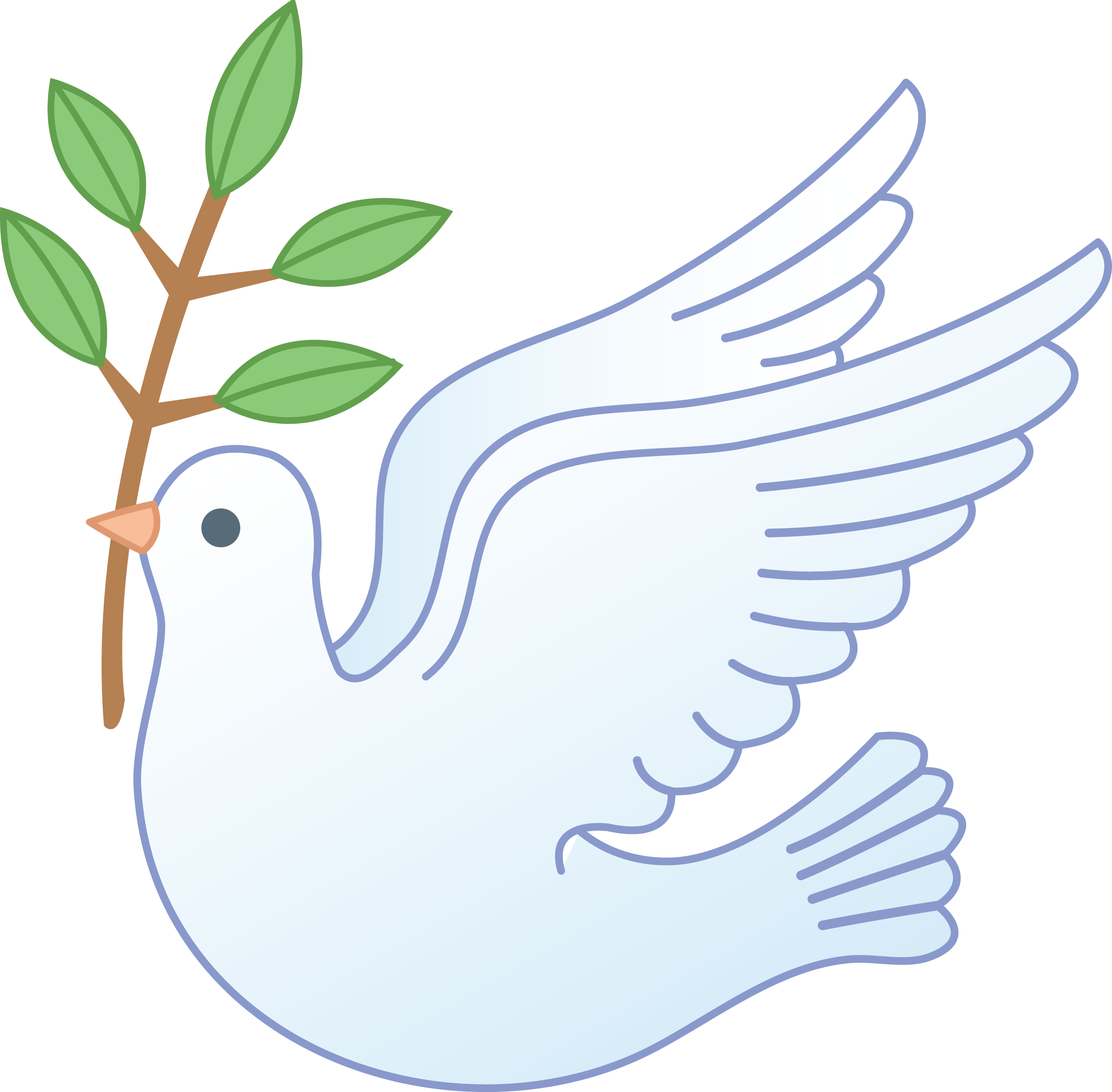 Peace Dove With Olive Branch - Free Clip Art
