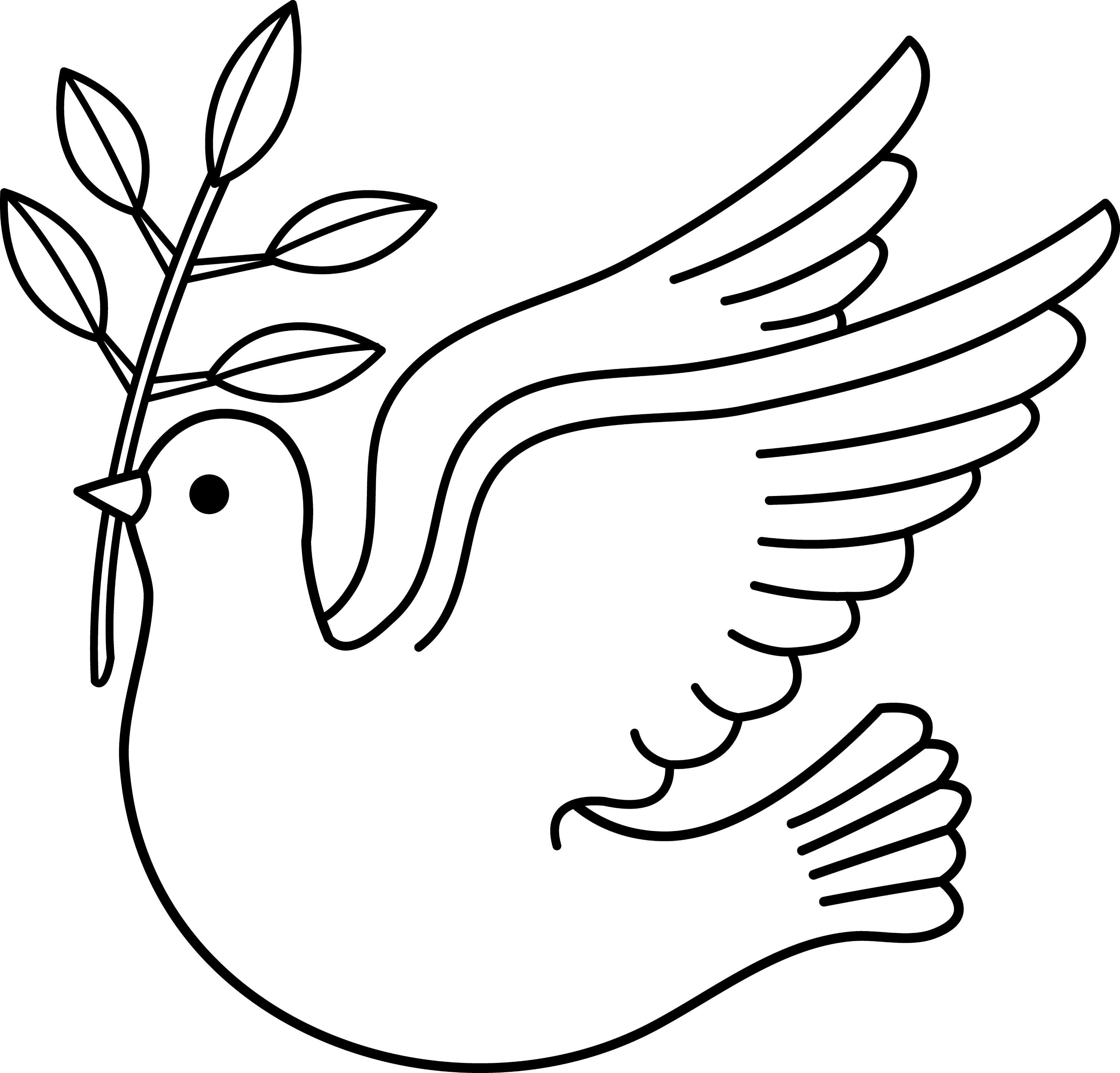 Line Art Dove : Peace dove line art free clip