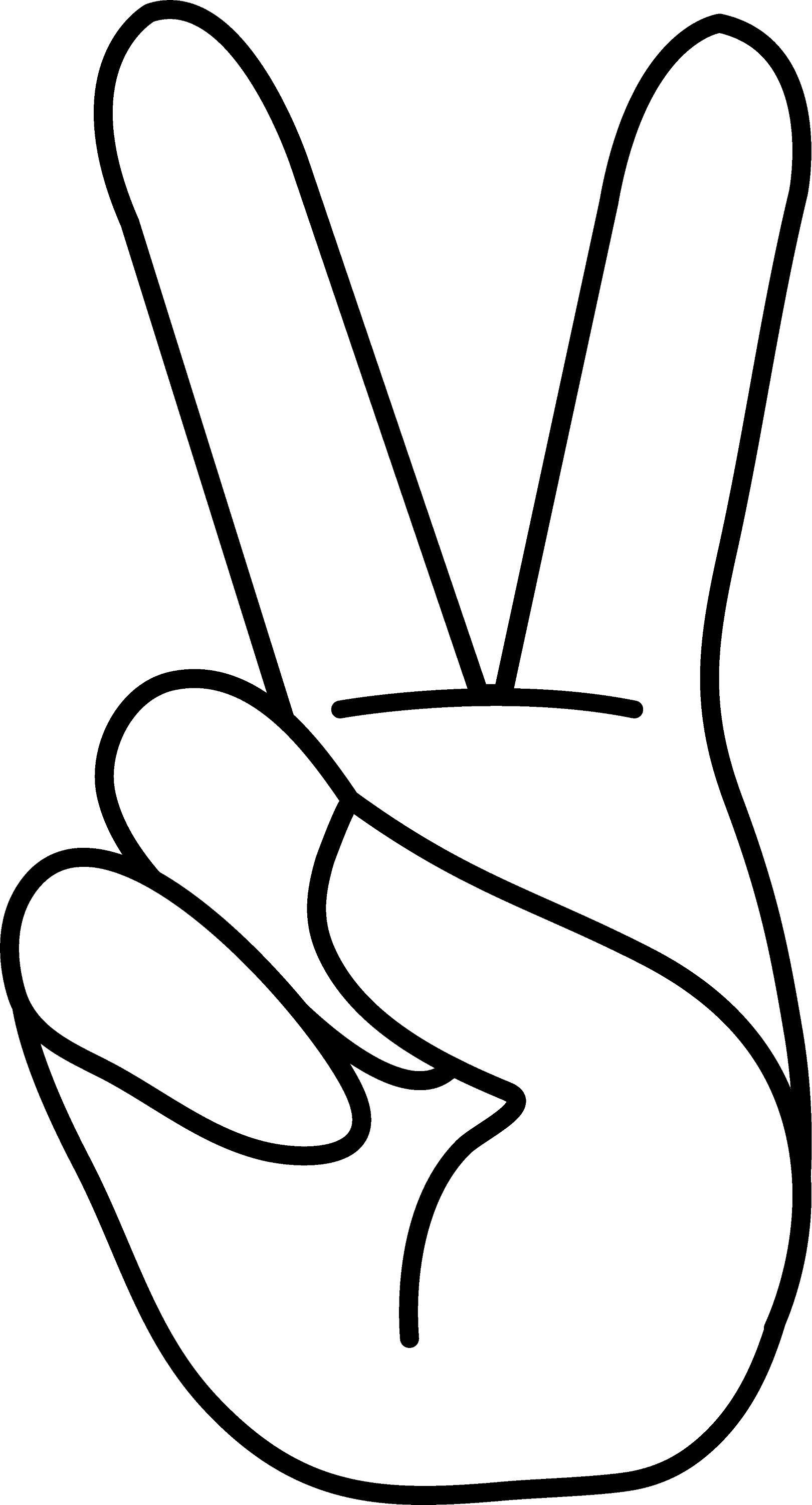 peace hand sign coloring page free clip art