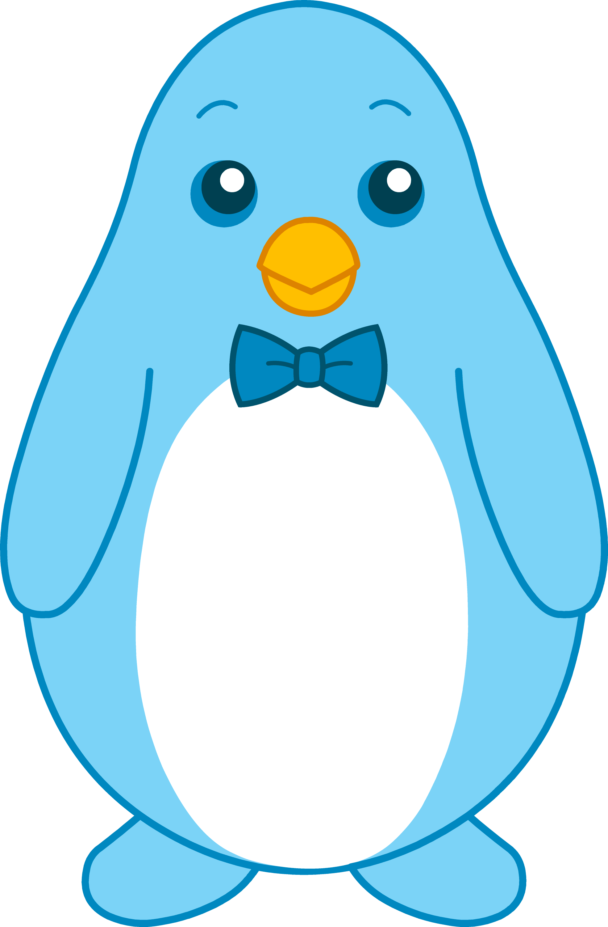 Little Blue Penguin With Bow Tie - Free Clip Art