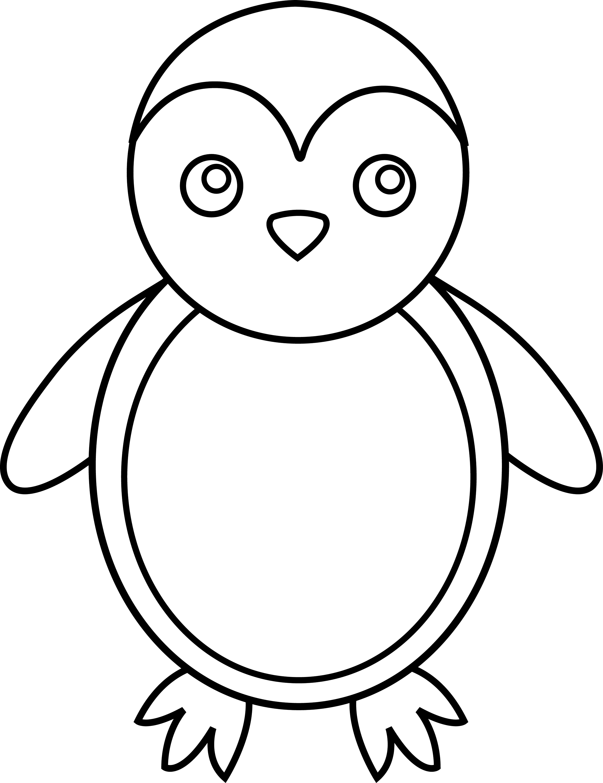 Line Drawing Penguin : Penguin line art free clip