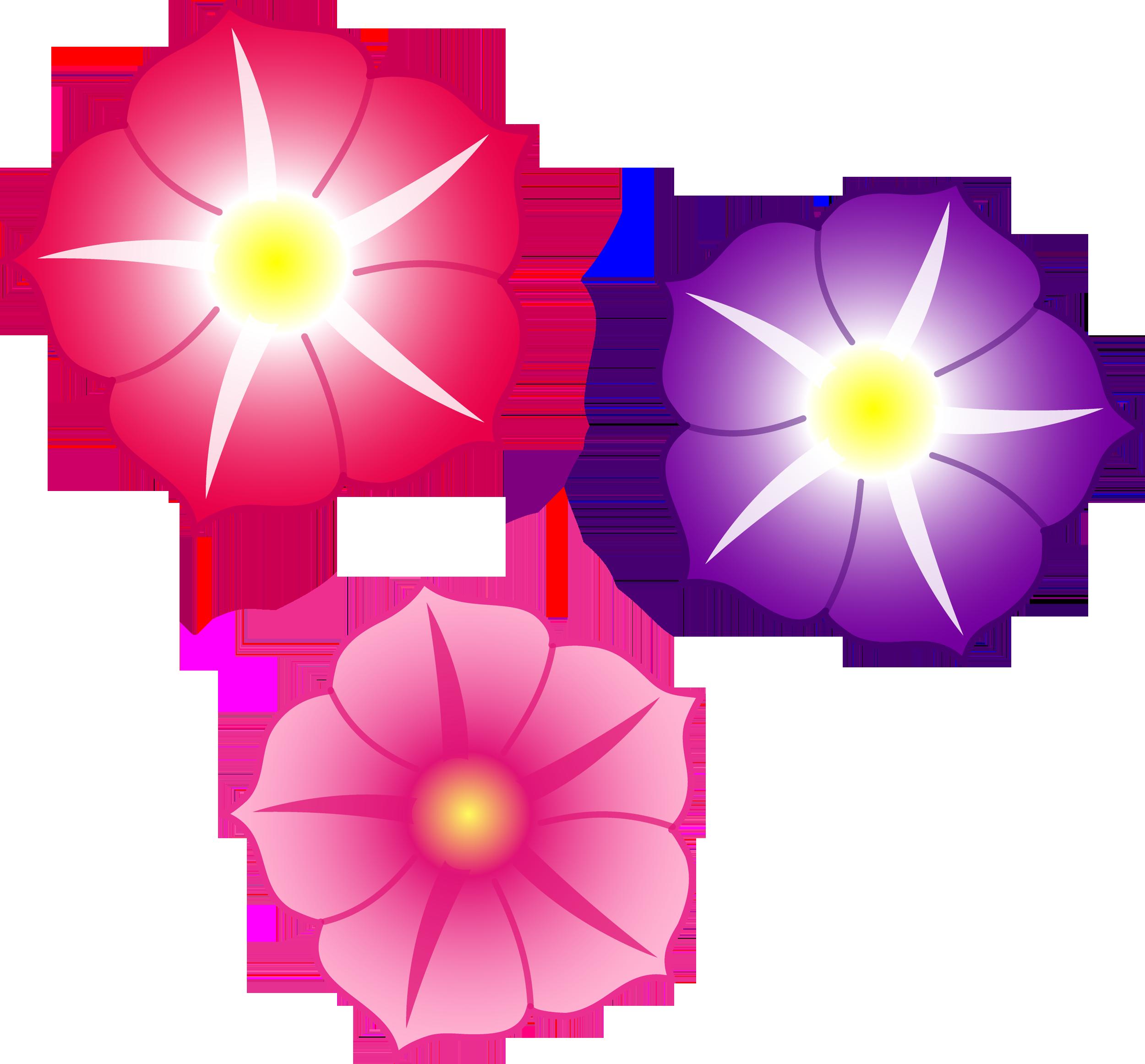 Three Colorful Petunia Flowers Free Clip Art