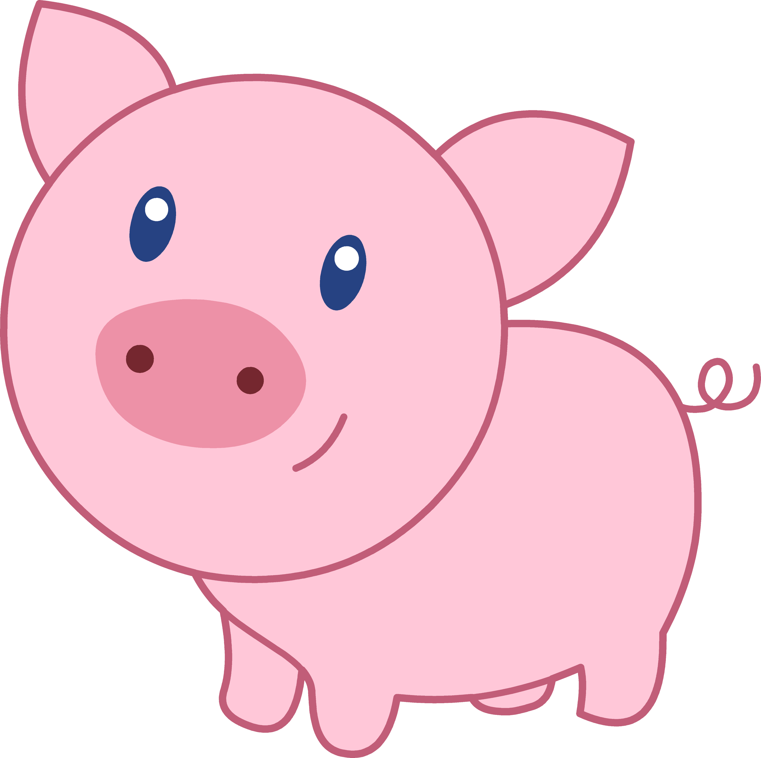 Cute Happy Pink Pig - Free Clip Art