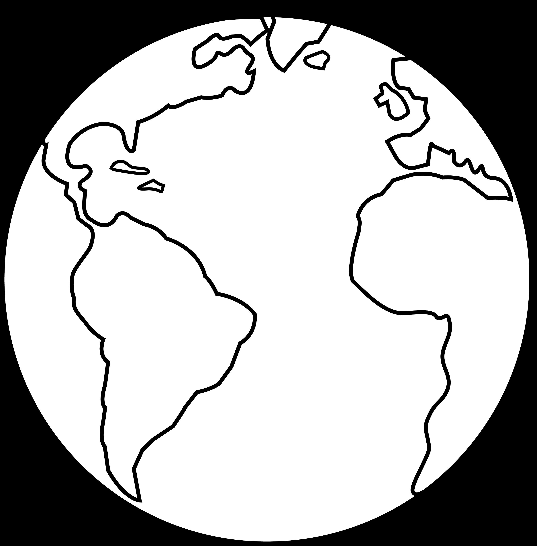 Colorable Earth Line Art - Free Clip Art