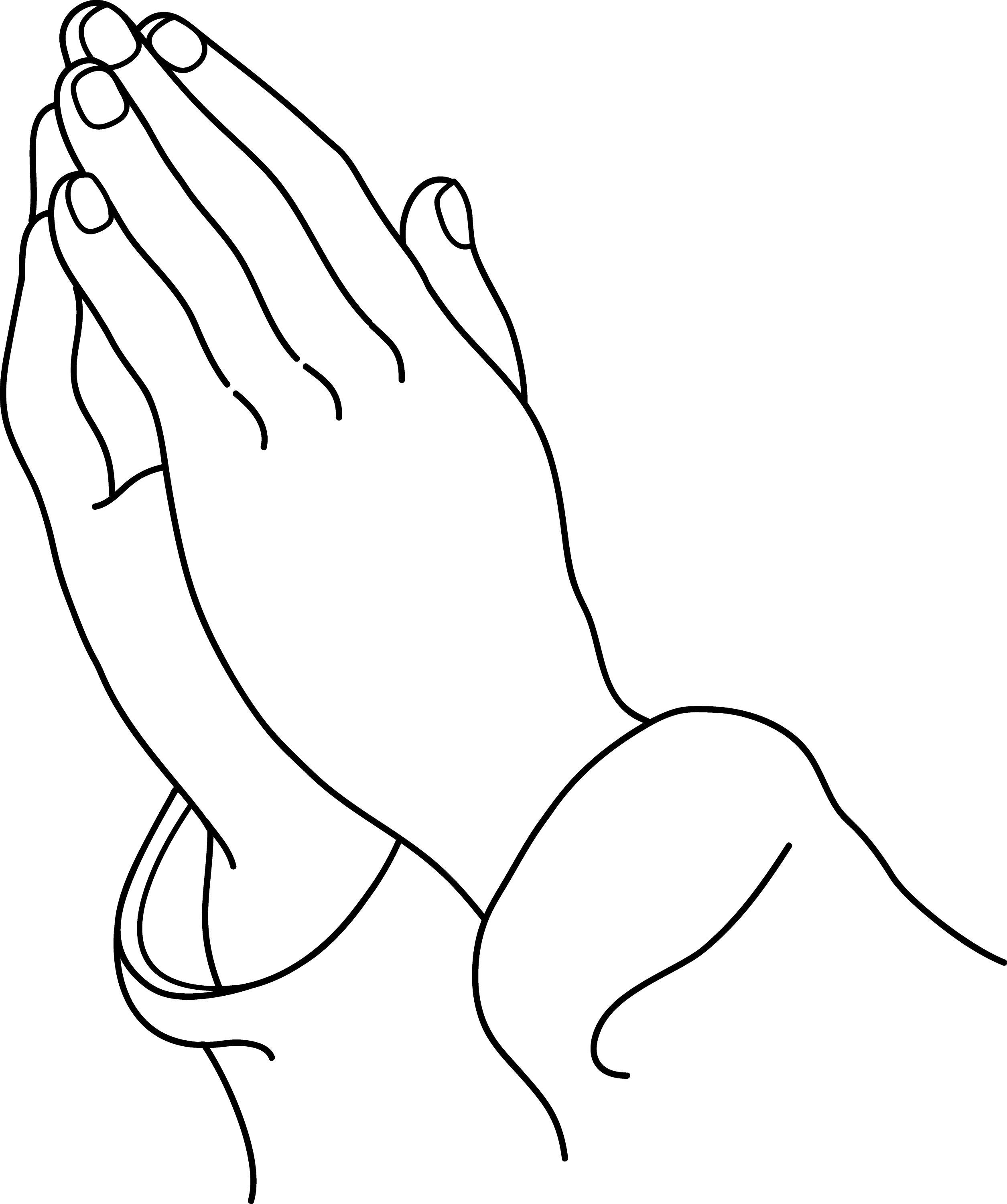 Praying Hands Line Art - Free Clip Art