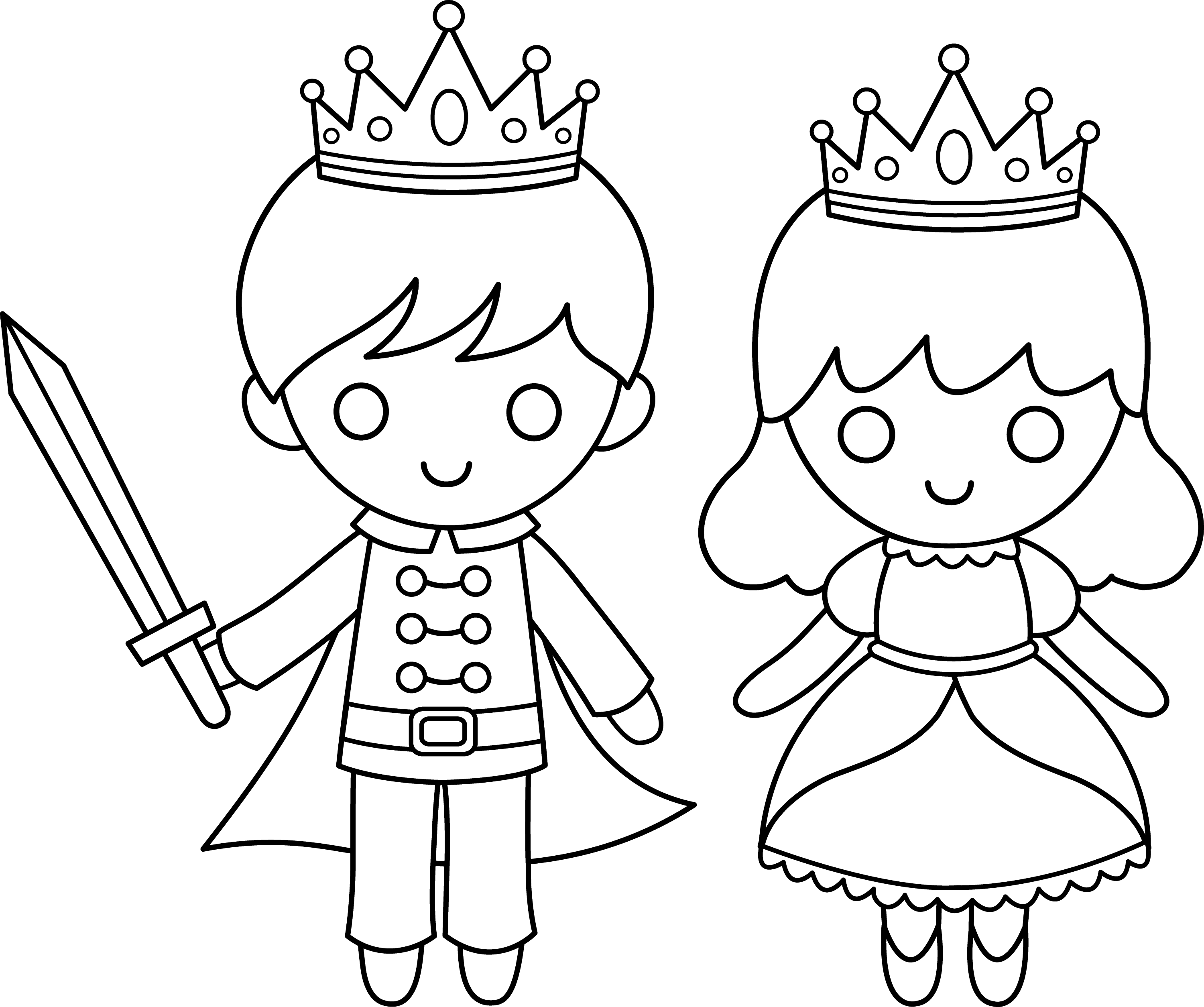 prince and princess line art free clip art