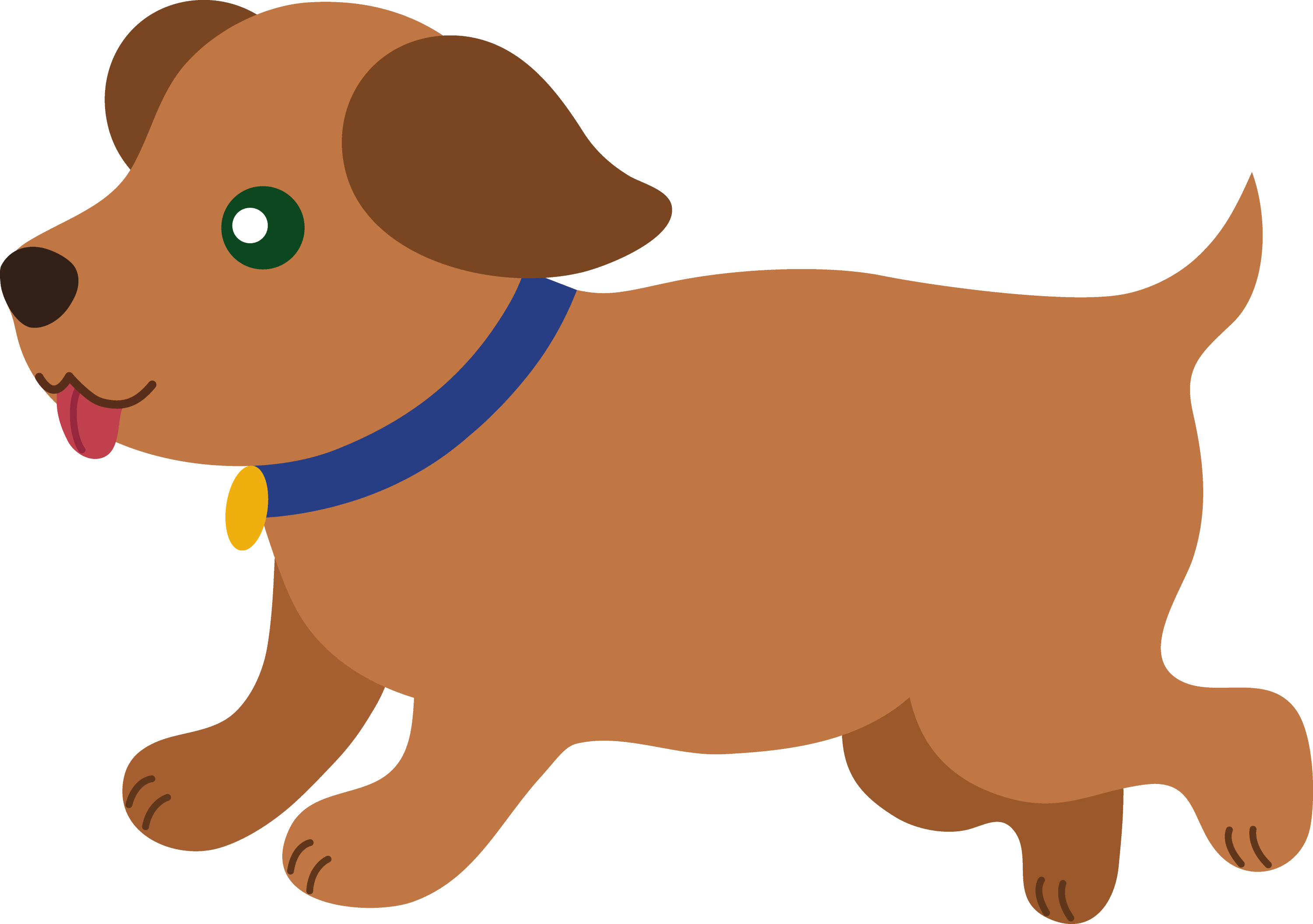 Cute Brown Puppy Running - Free Clip Art