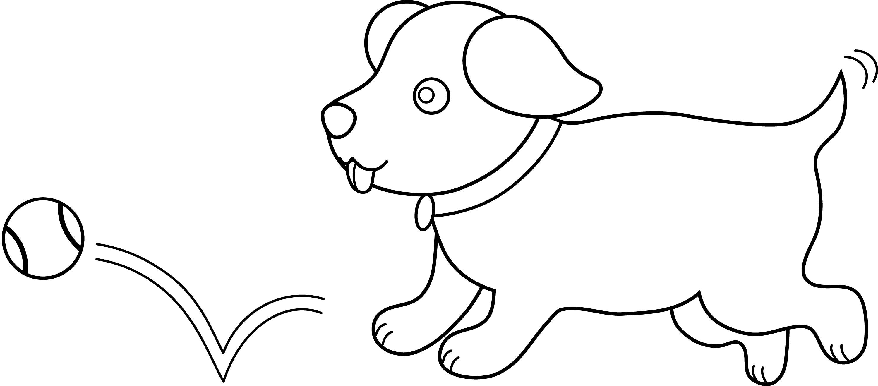 Line Art Puppy Playing Fetch Free Clip Art