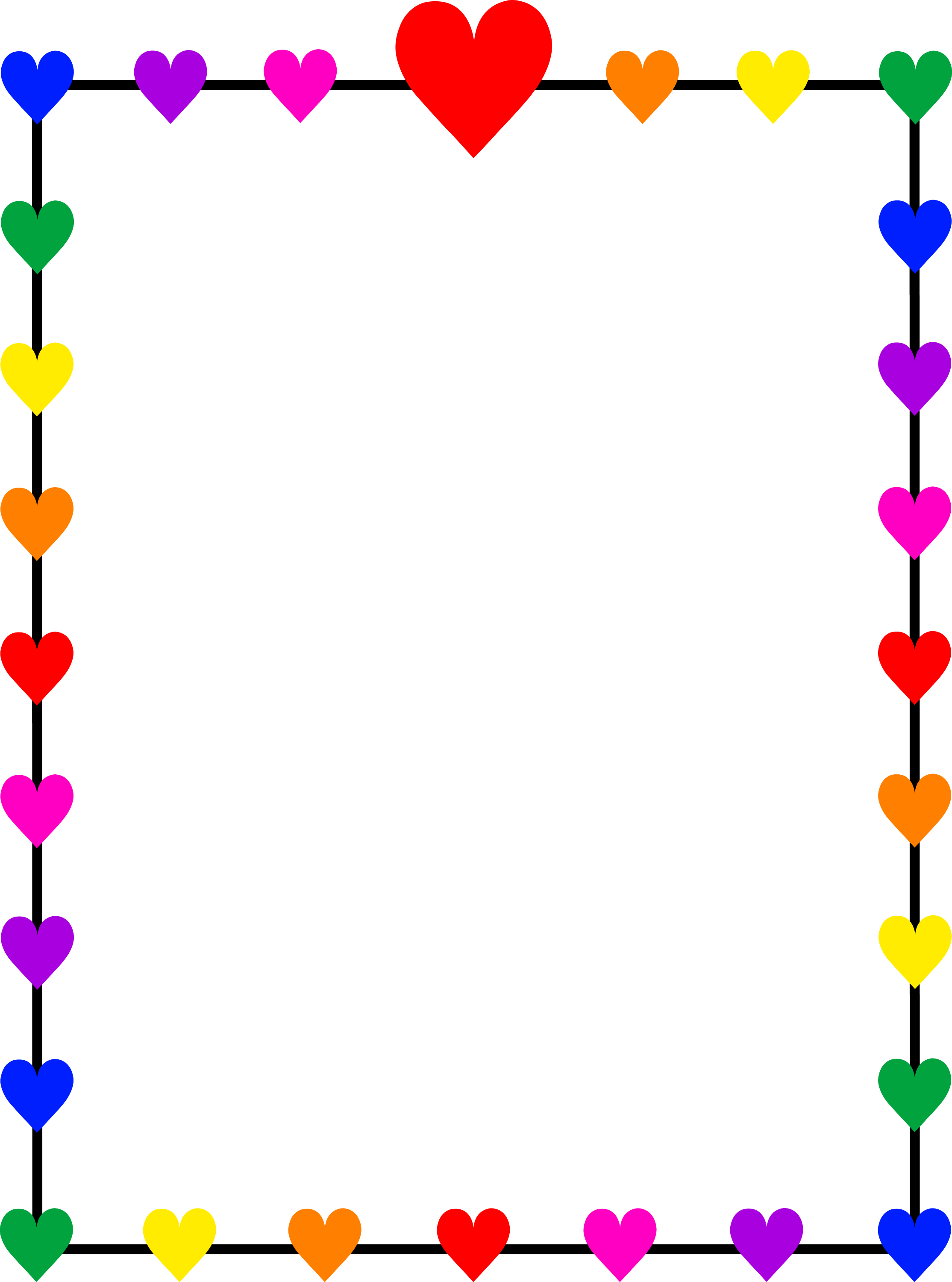 Colorful Rainbow Hearts Frame