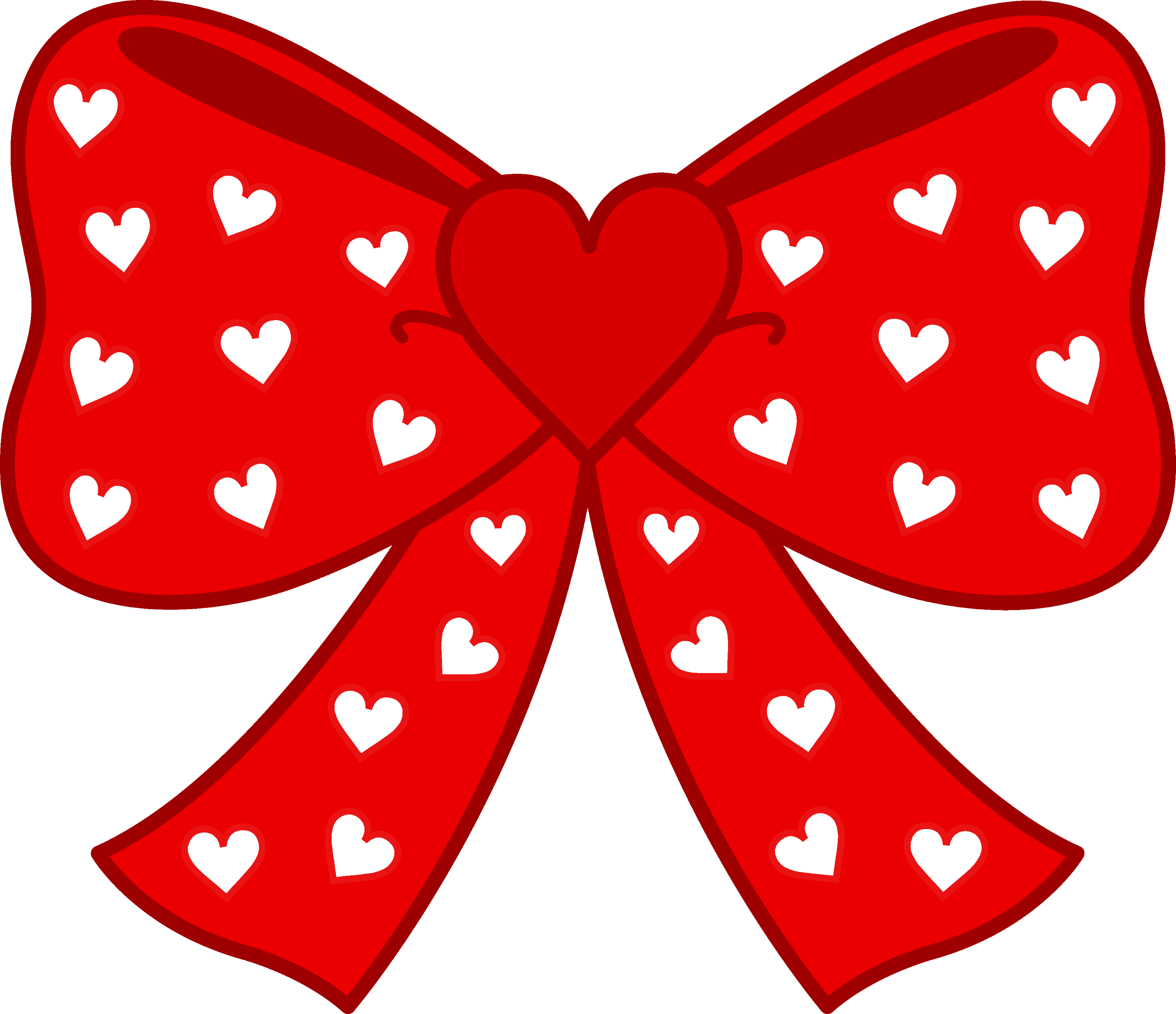 Cute Red Bow with Hearts - Free Clip Art