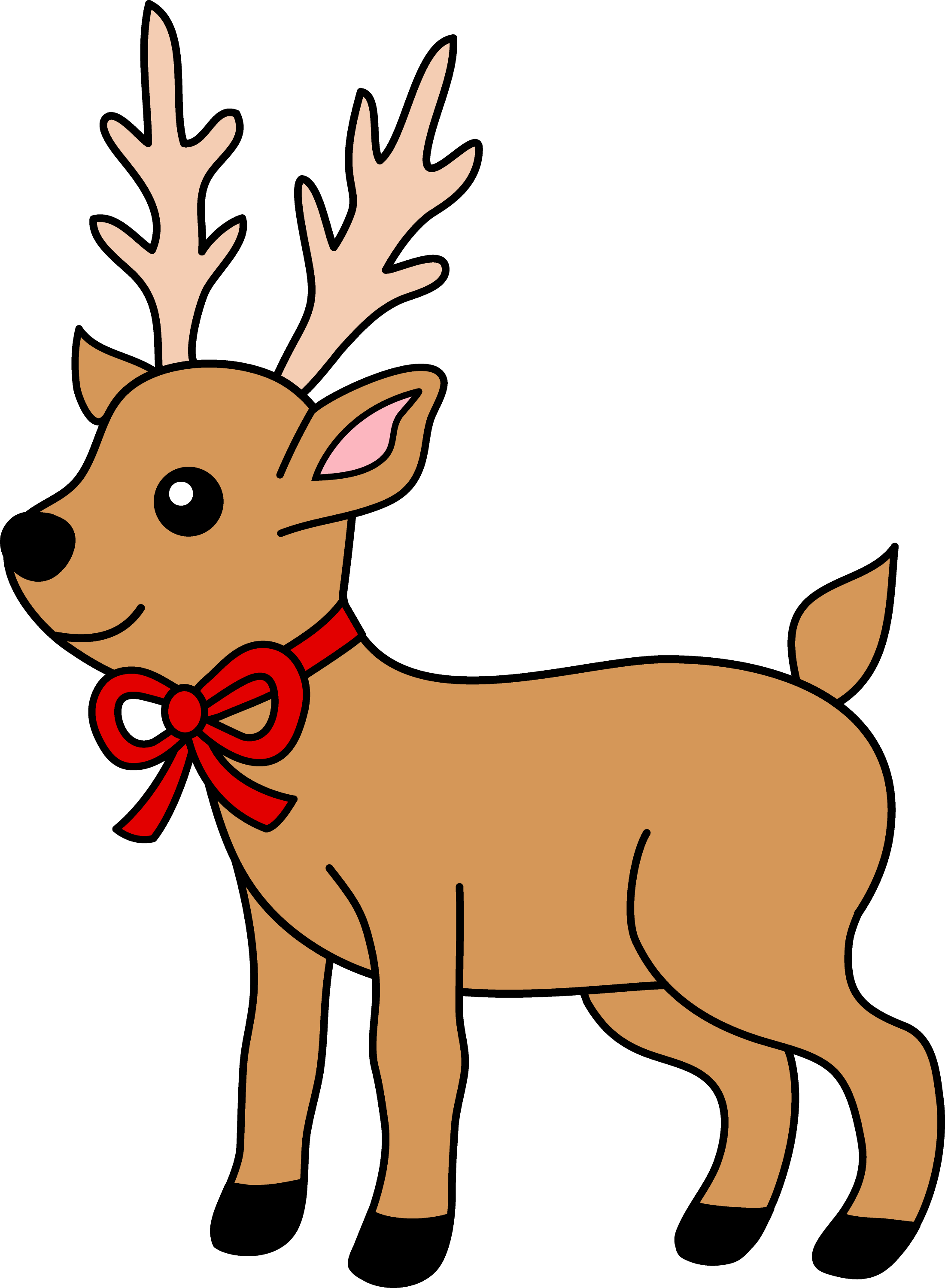 Christmas Reindeer.Christmas Reindeer With Red Ribbon Free Clip Art
