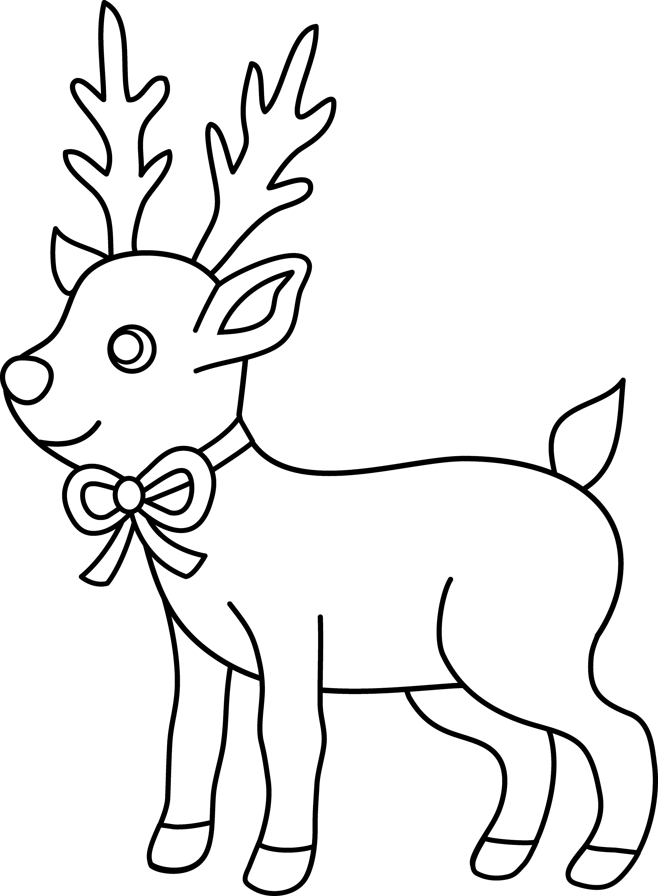 Christmas Reindeer Coloring Page - Free Clip Art