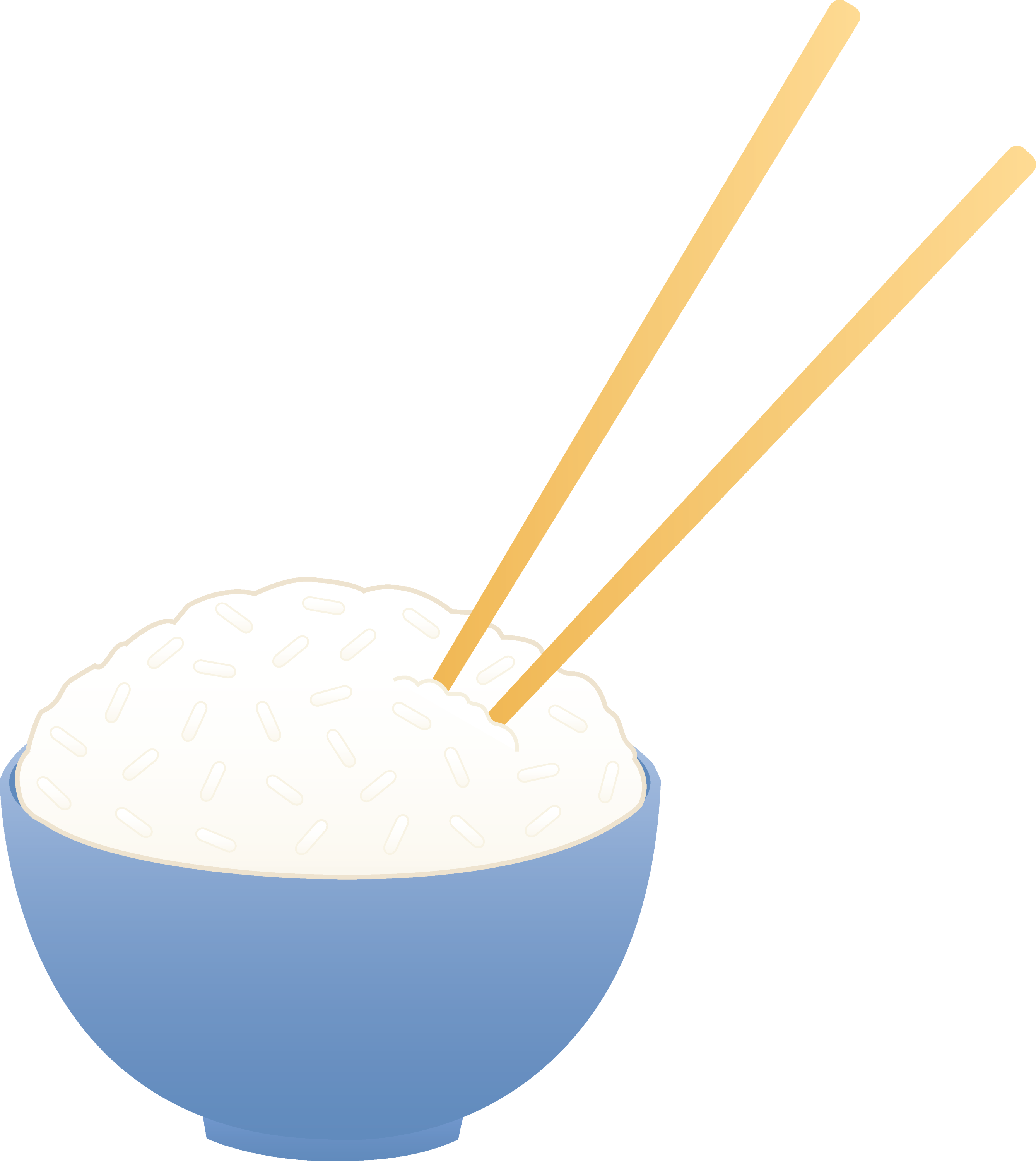 Bowl of White Rice With Chopsticks - Free Clip Art