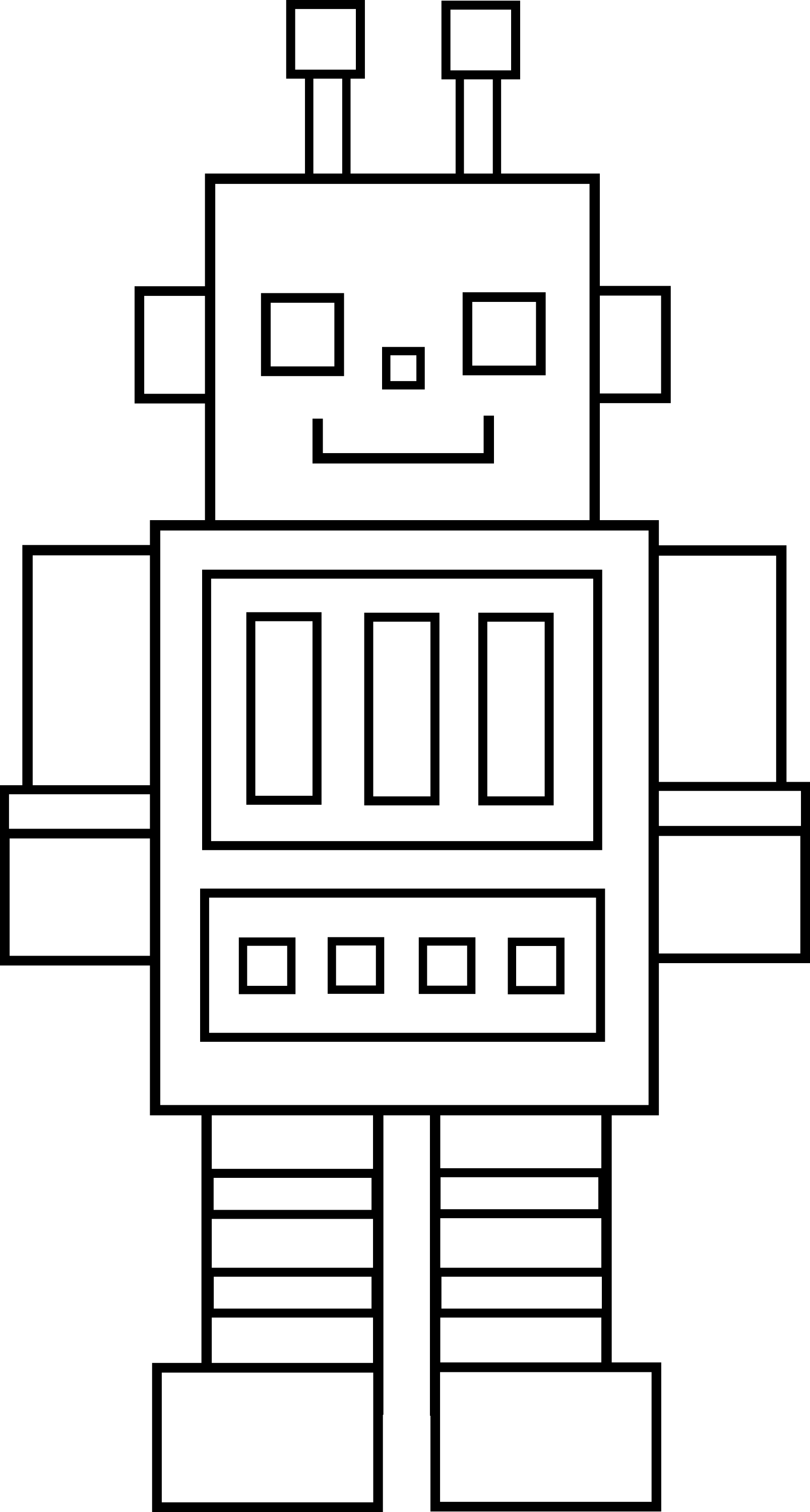 Line Drawing Robot : Cute colorable robot free clip art