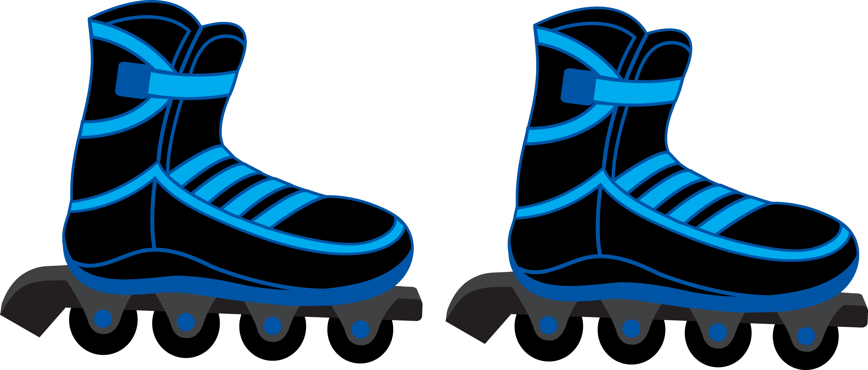 Cool Blue and Black Rollerblades - Free Clip Art