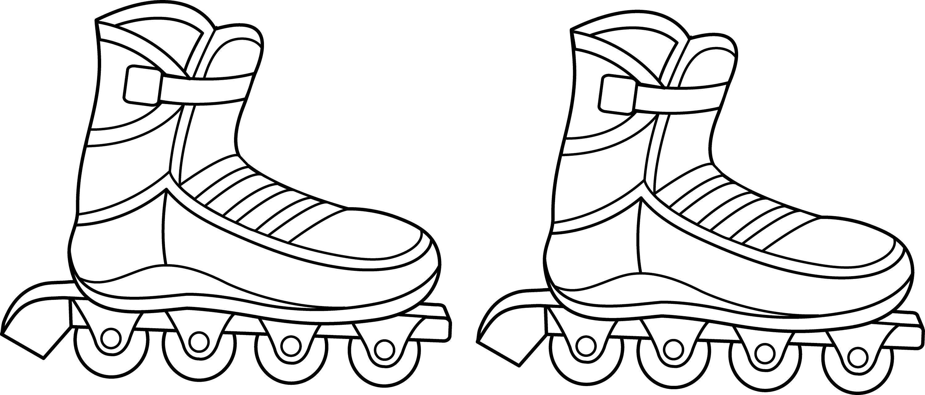 Rollerblades Colorable Line Art Free Clip Art Roller Skate Coloring Page