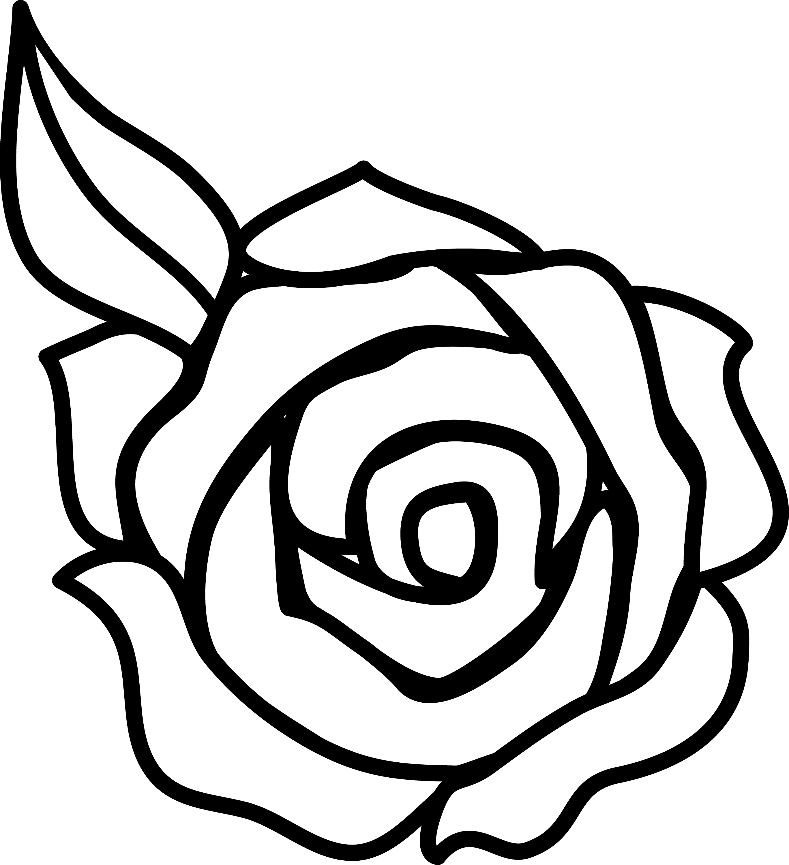 Line Art Rose : Black and white flower clip art