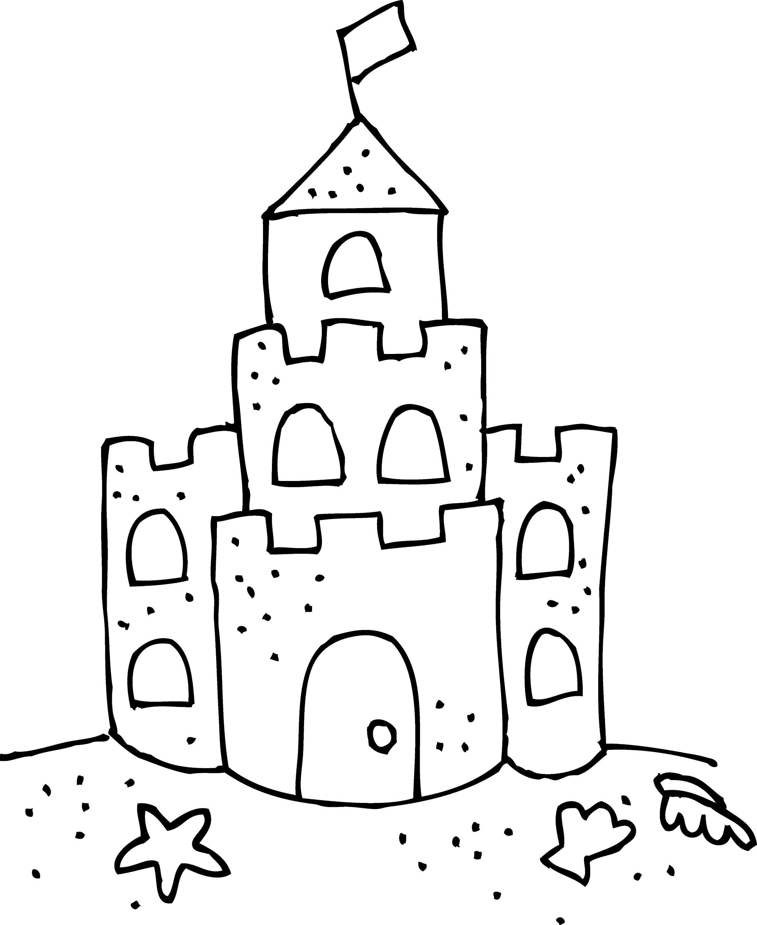 cute sand castle coloring page free clip art