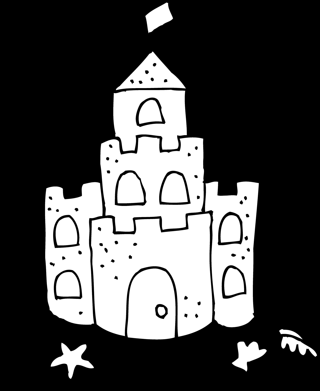 Cute Sand Castle Coloring Page - Free Clip Art