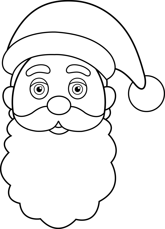 Line Drawing Santa Face : Santa claus clipart black and white