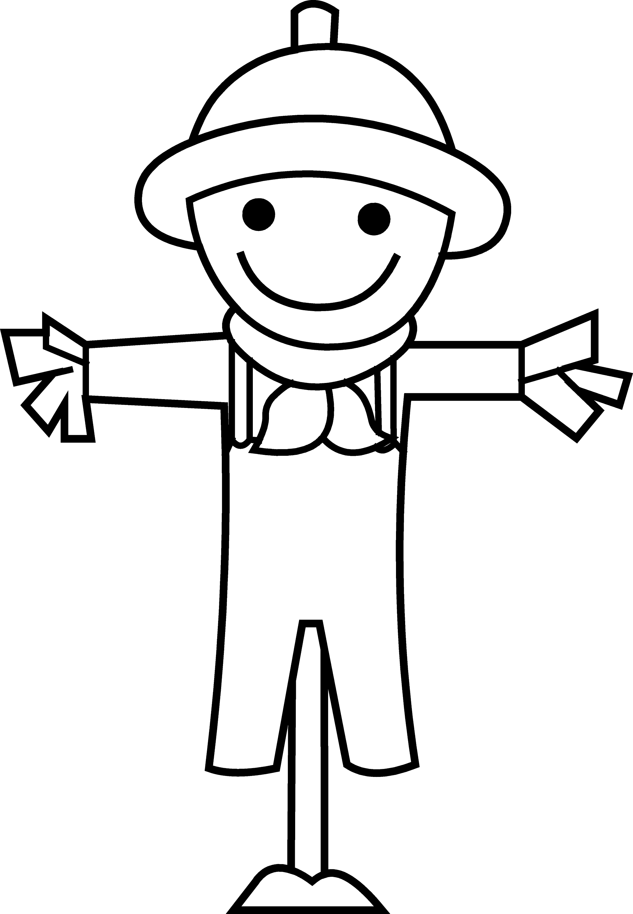 Cute little scarecrow line art free clip art for Black and white only