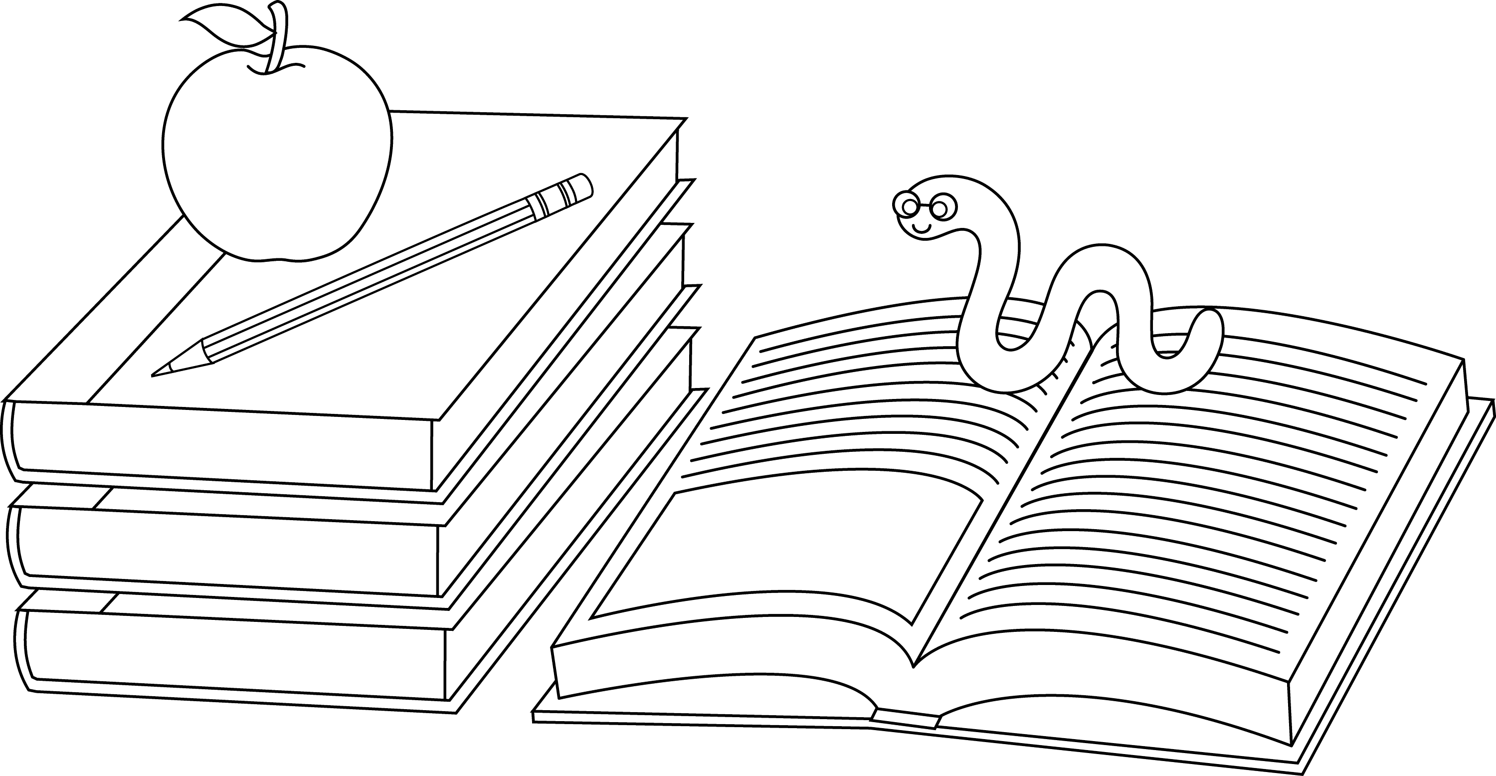 Colorable School Books And Bookworm Free Clip Art Coloring Page Book