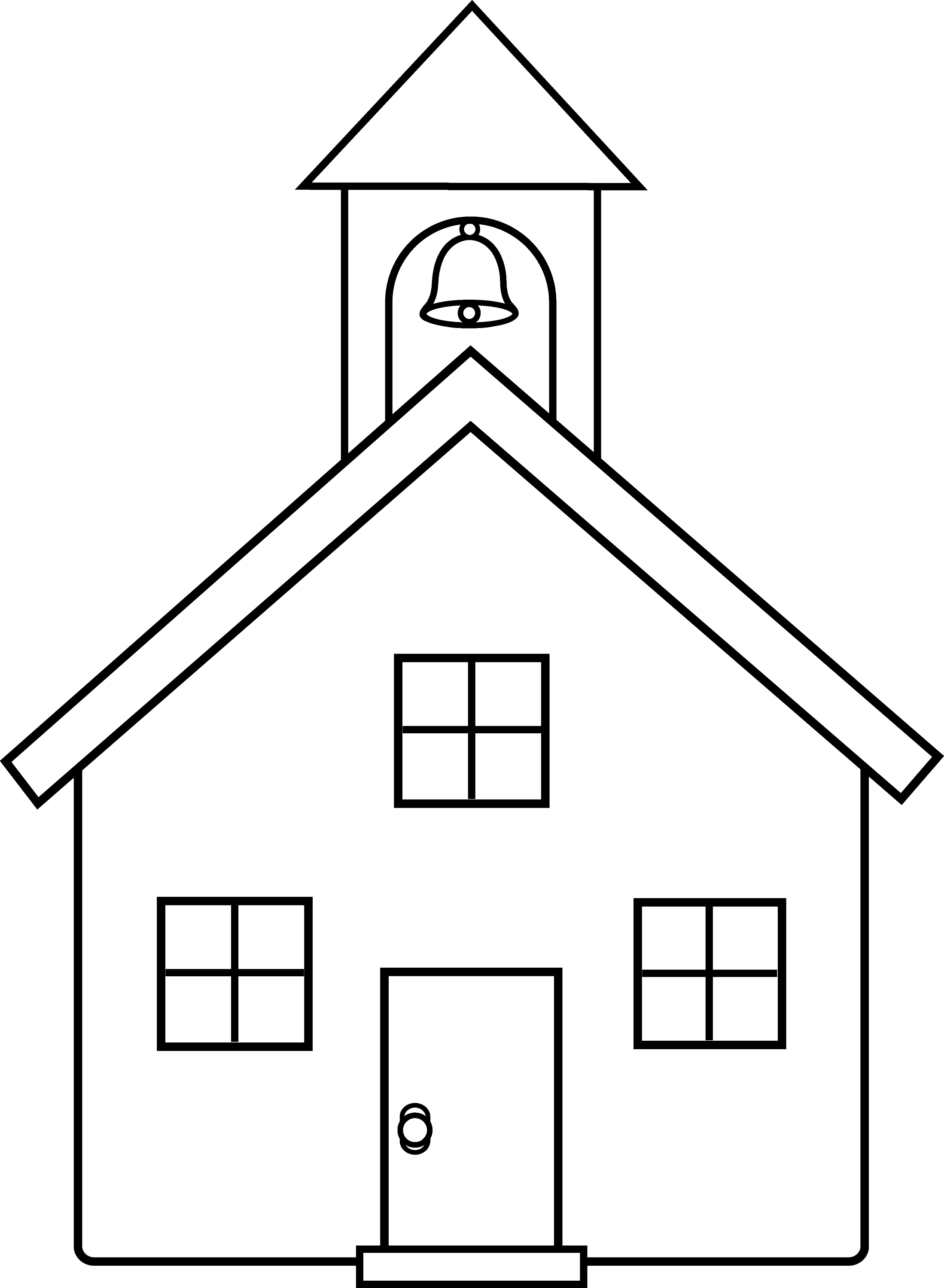 School House Line Art - Free Clip Art House Black And White Drawing