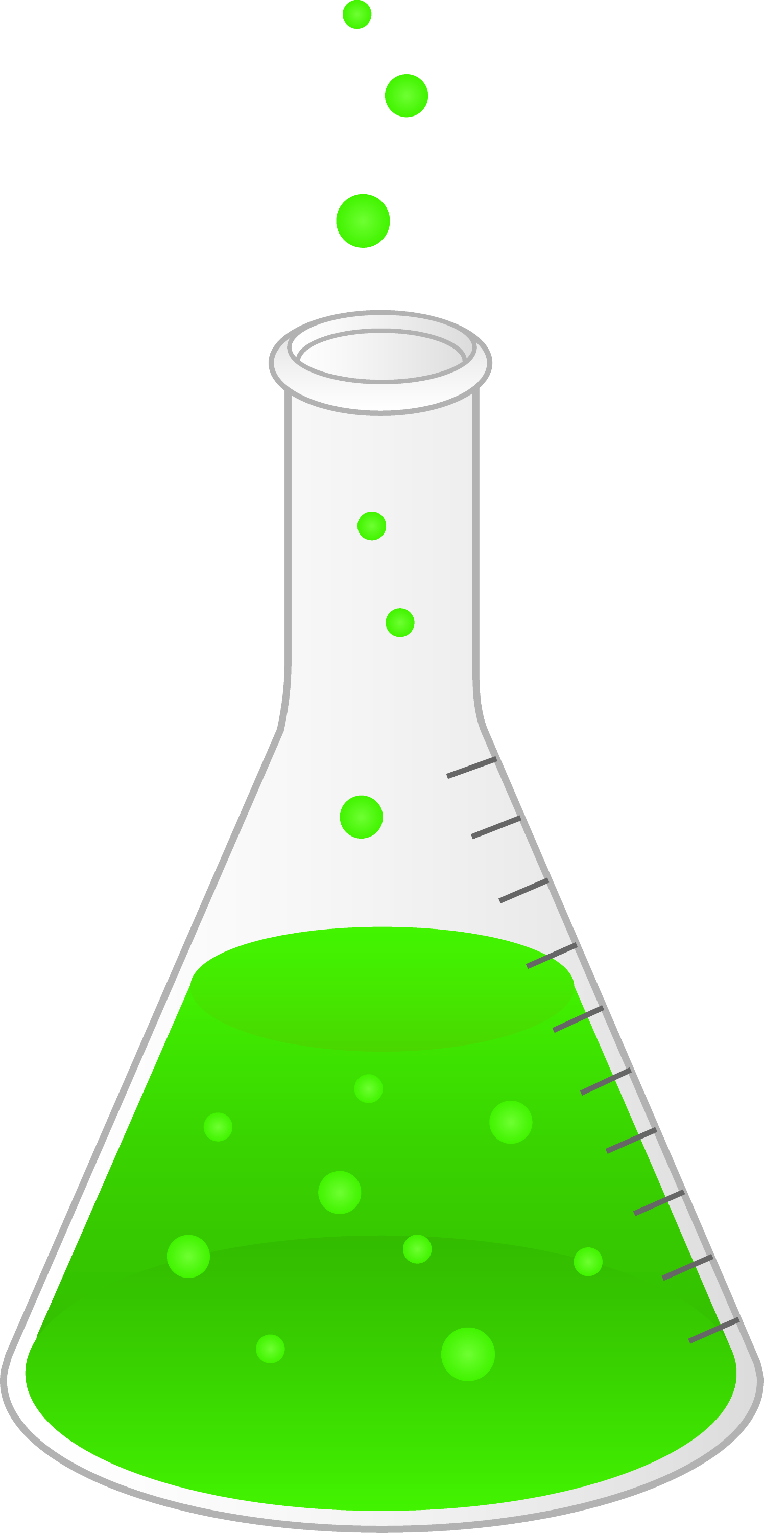 Science flask with green chemical