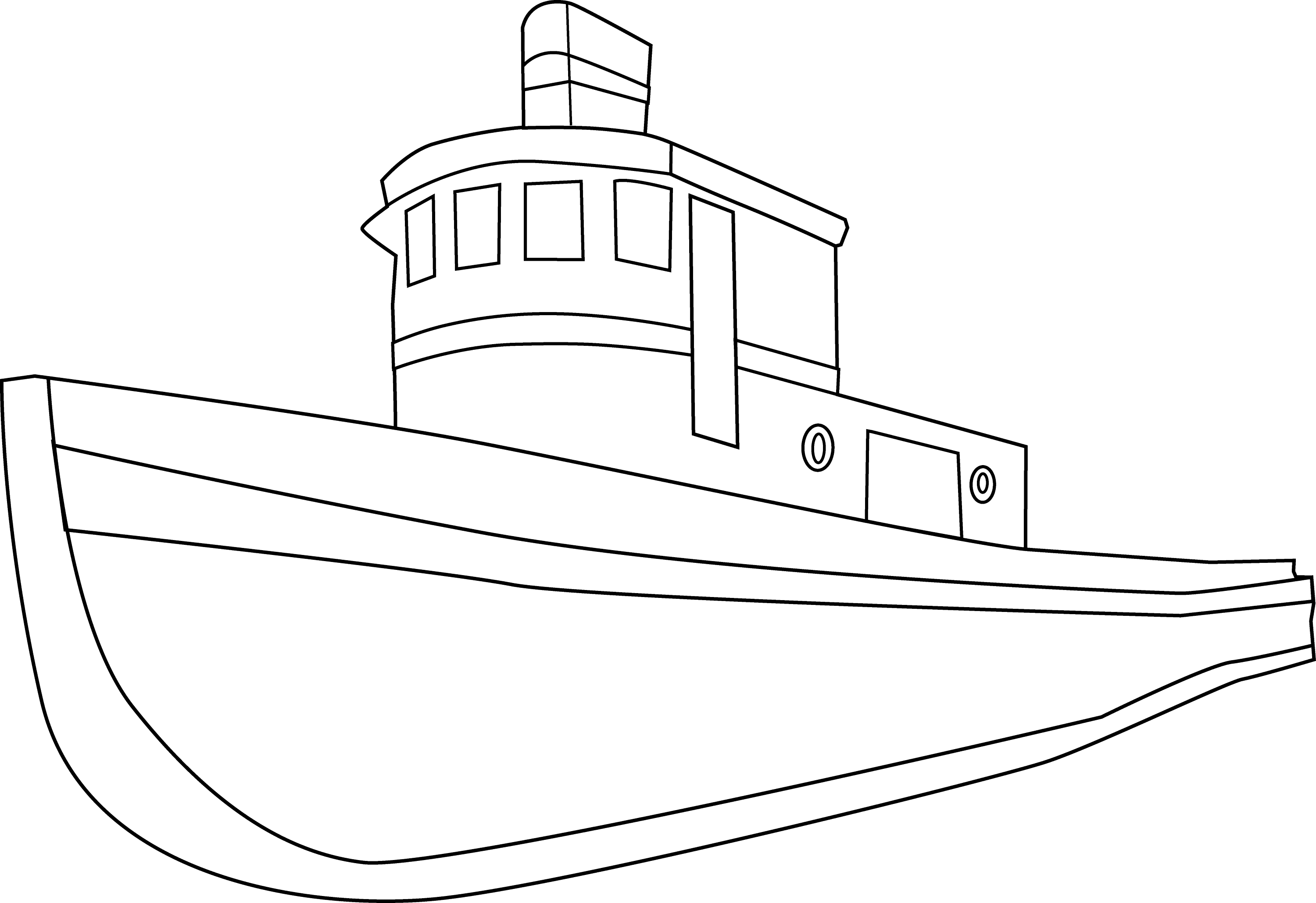 Line Art Boat : Ship coloring page free clip art