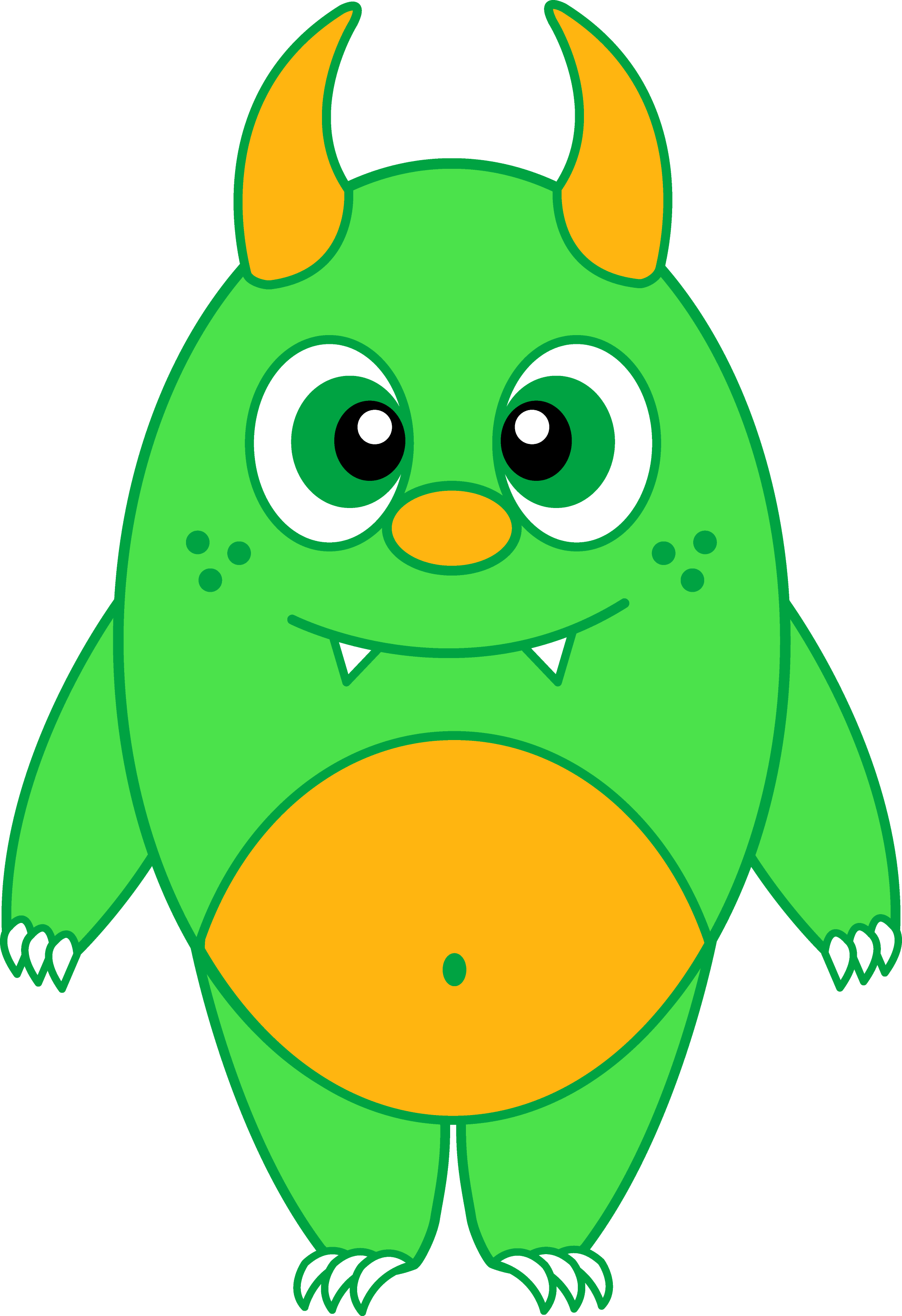 Silly Little Green Monster - Free Clip Art