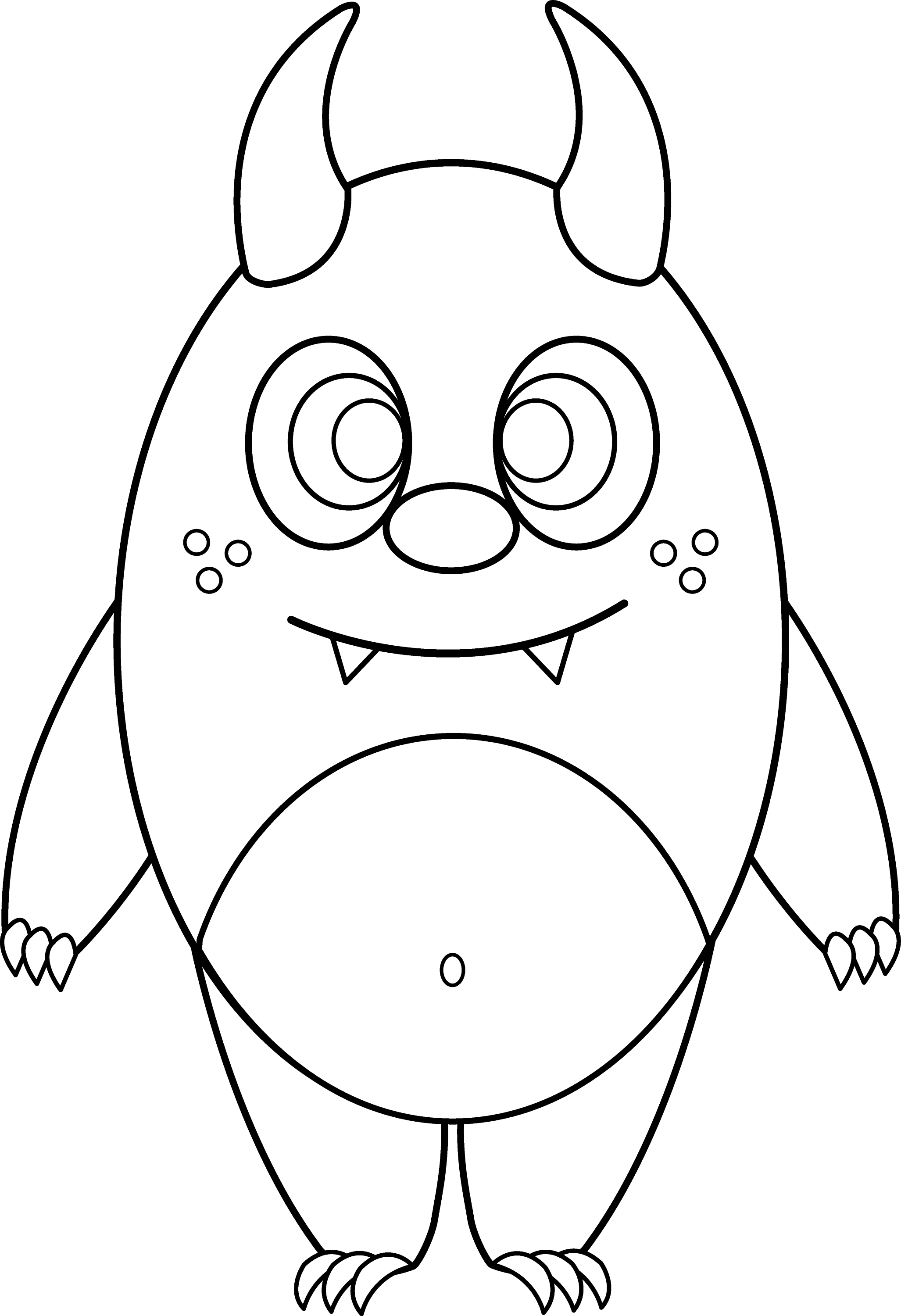 Line Drawing Monster : Silly little monster coloring page free clip art