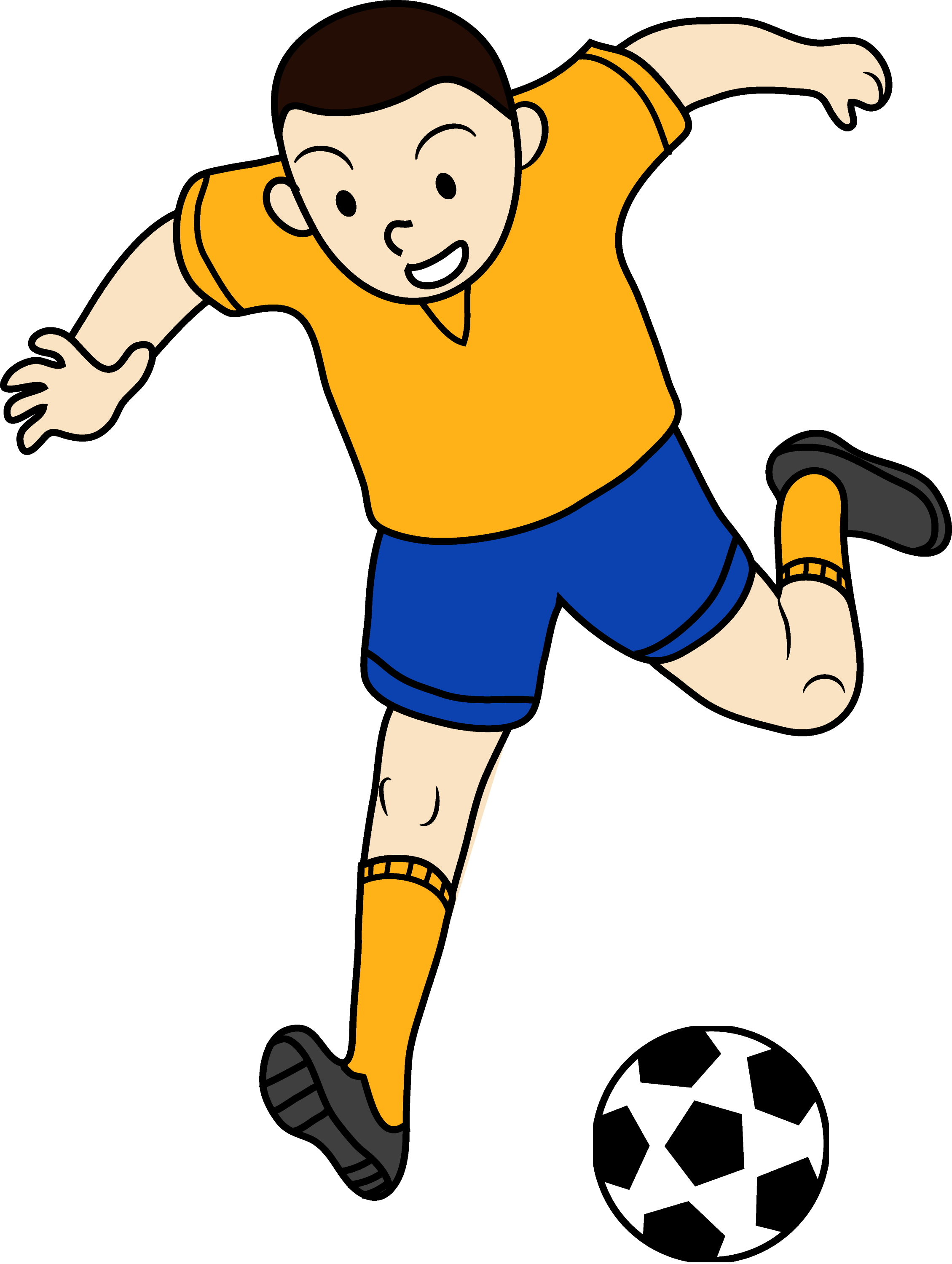Kid Playing Soccer or Football - Free Clip Art
