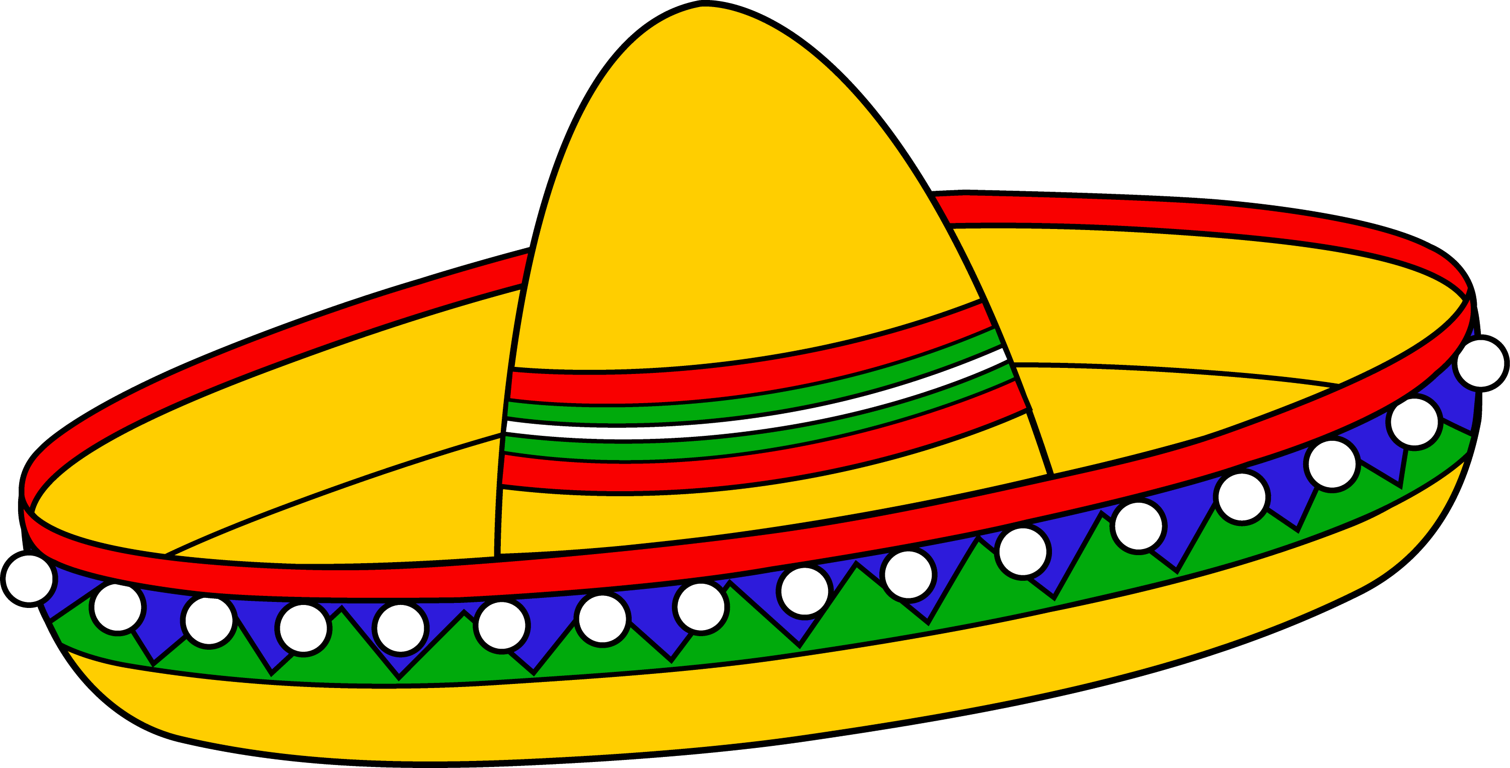 Colorful Mexican Sombrero Hat - Free Clip Art