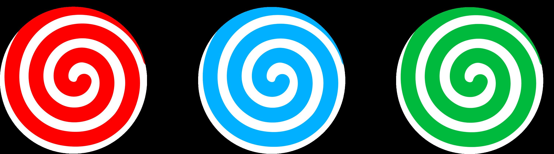 Three Candies With Spiral Design - Free Clip Art