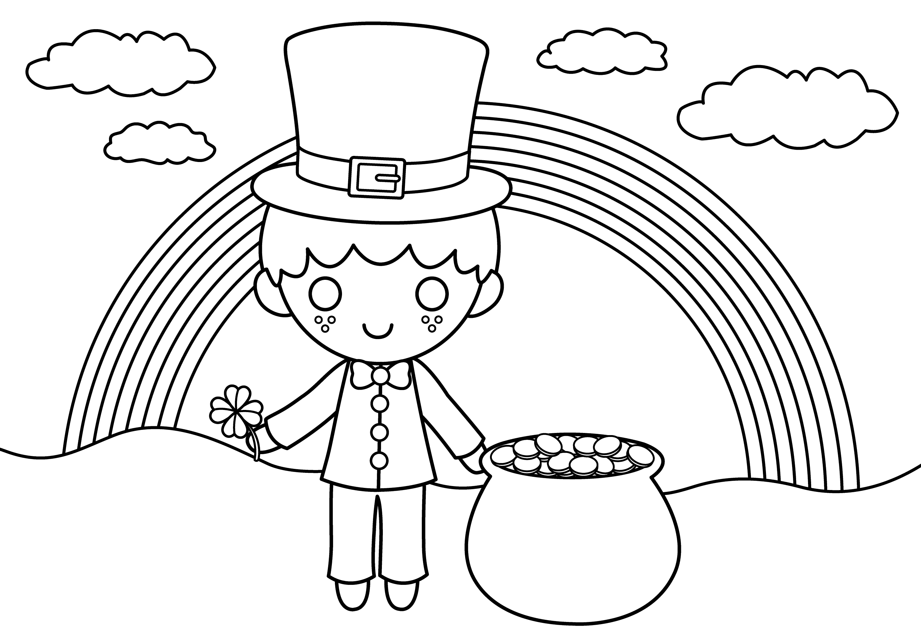 Cute St Patricks Coloring Page - Free Clip Art
