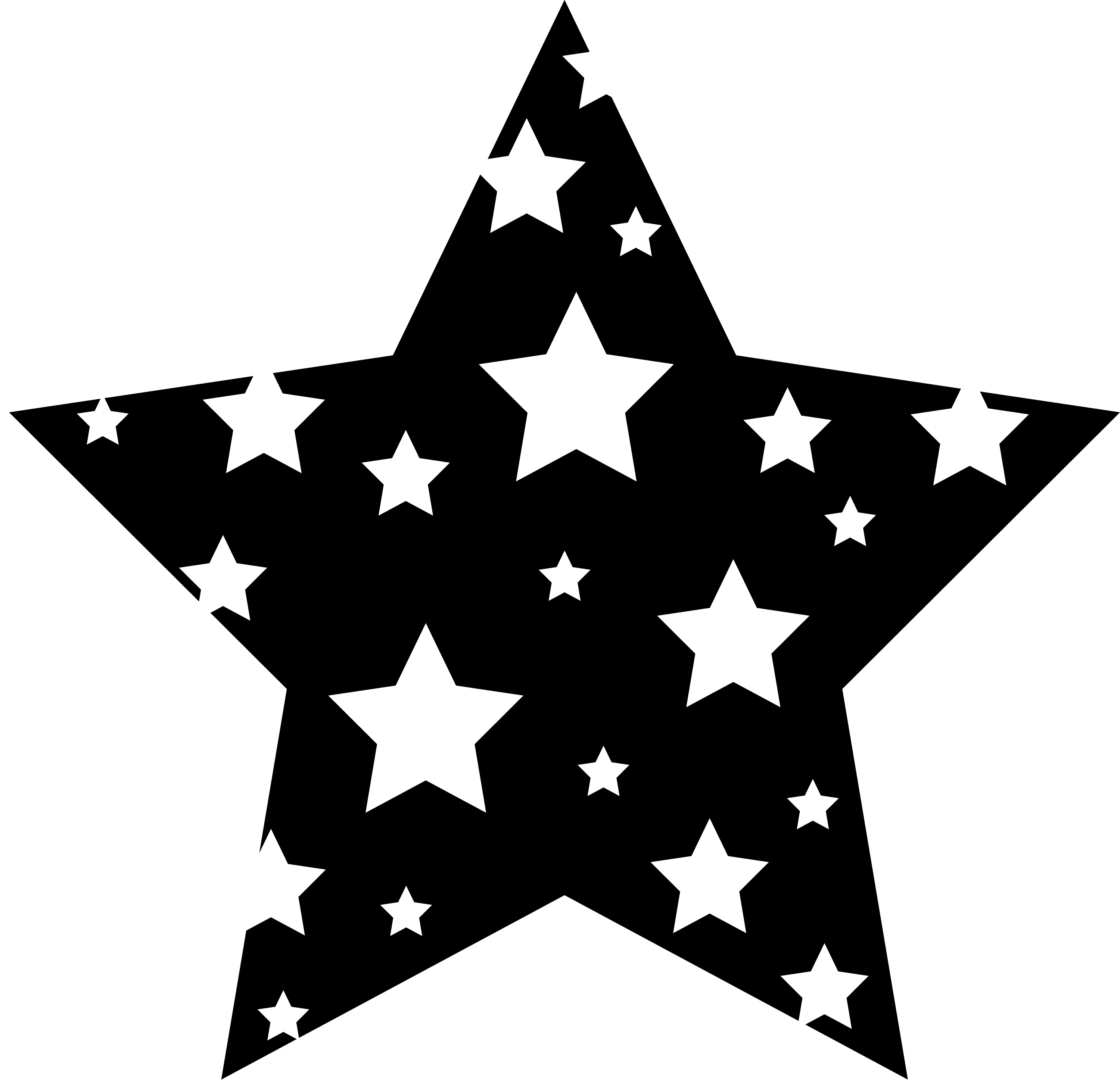 Black and white patterned star