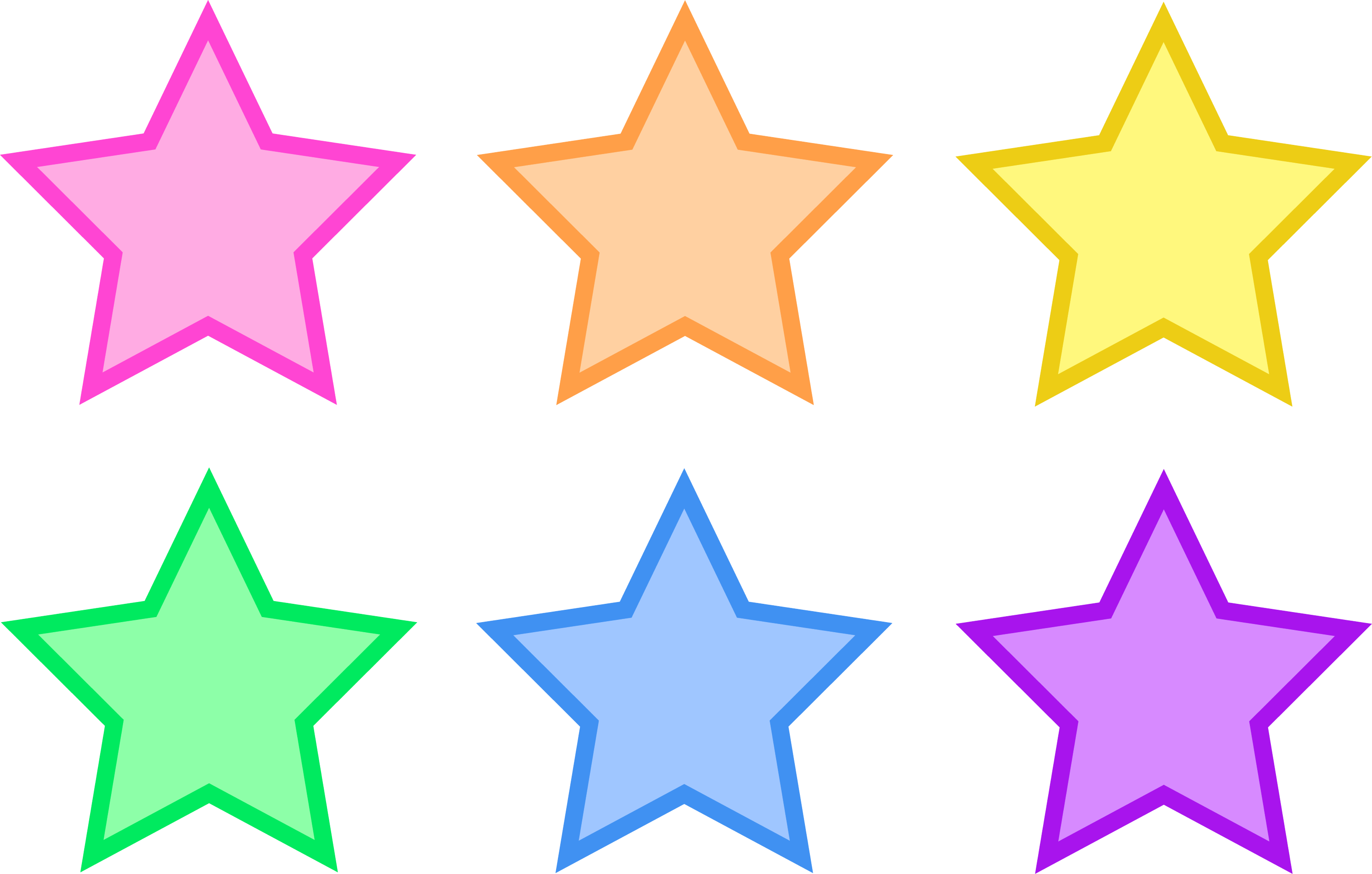 Set of Six Pastel Stars - Free Clip Art