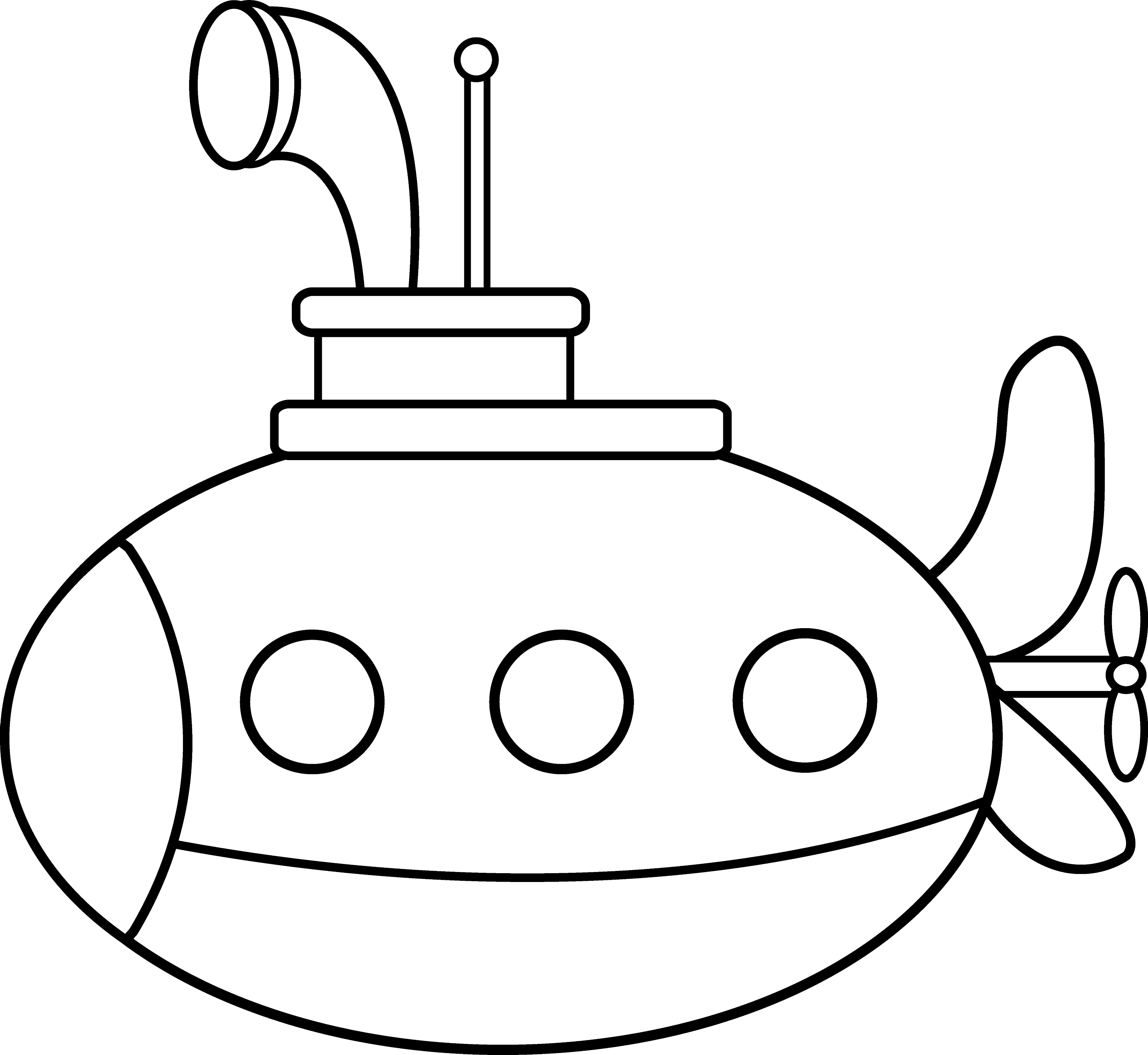 cute submarine coloring page free clip art