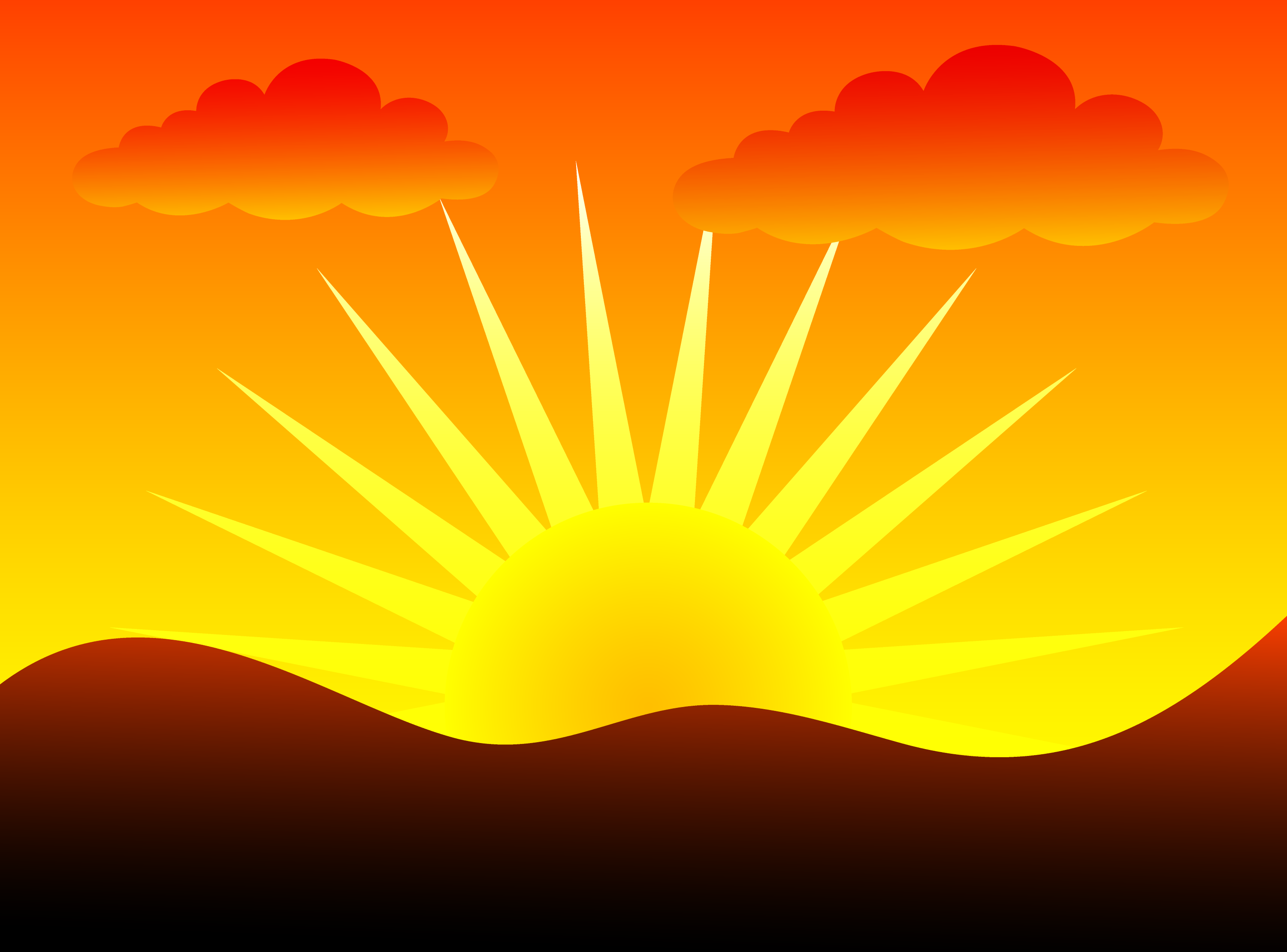 Sunset Over Hills - Free Clip Art