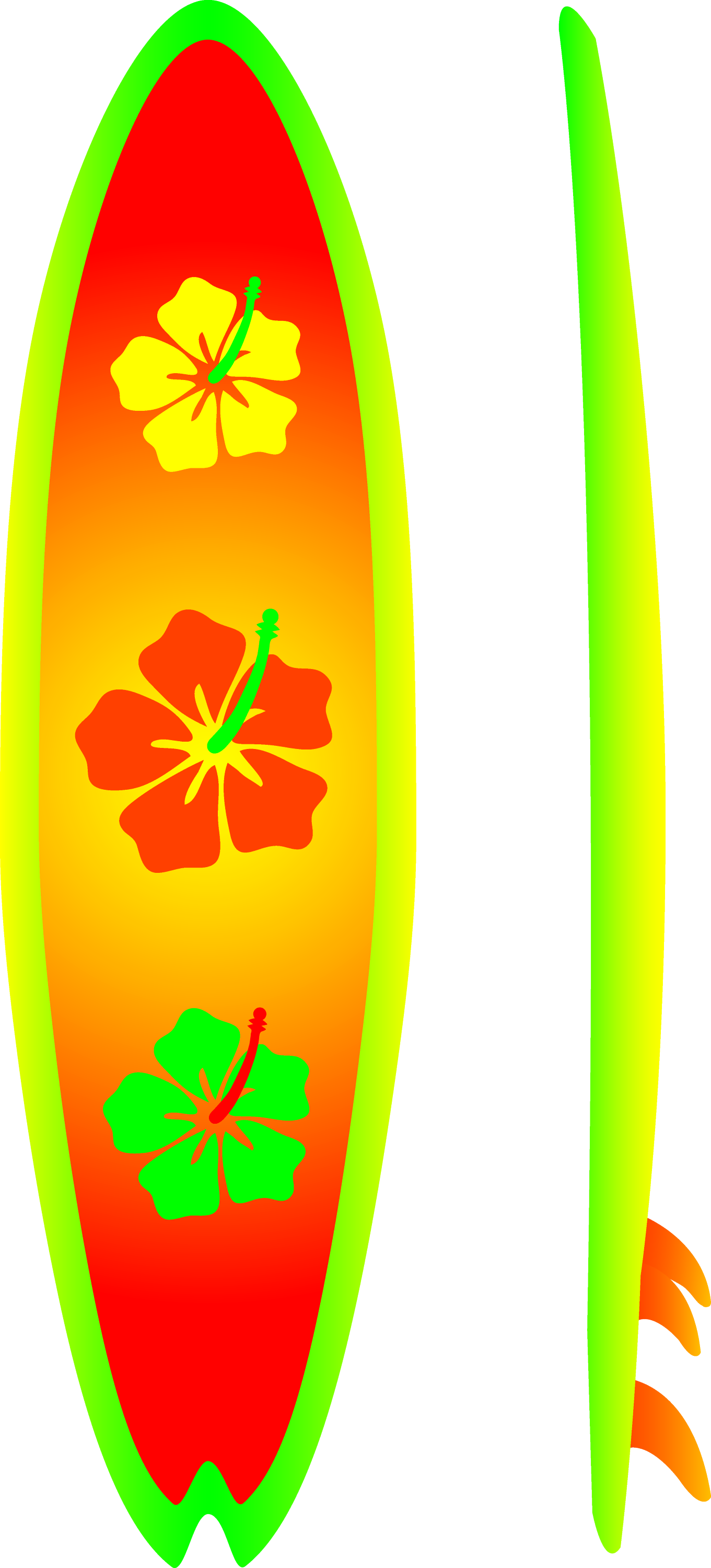 Neon Surfboard With Hibiscus Design - Free Clip Art